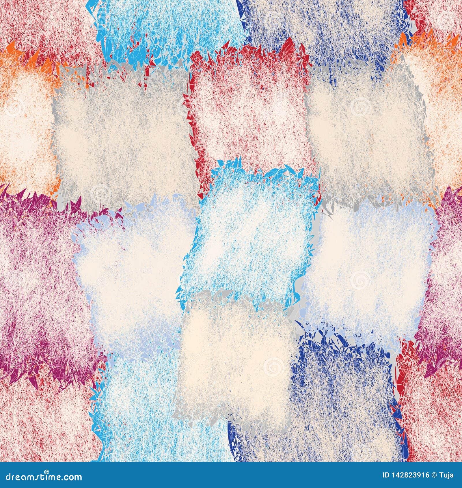 Naadloos patroon met bevlekte grunge en gestreepte vierkante elementen in pastelkleuren