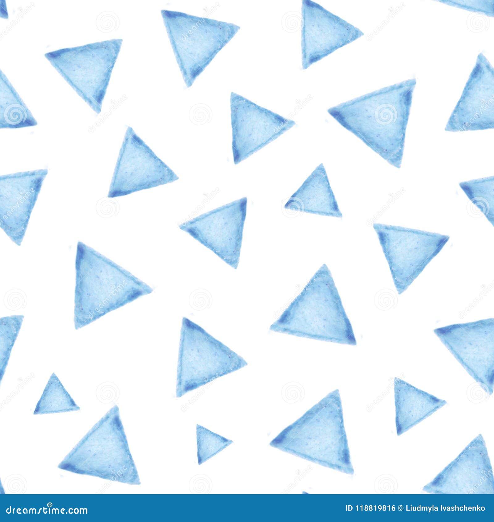 Naadloos patroon met blauwe driehoeken op witte achtergrond