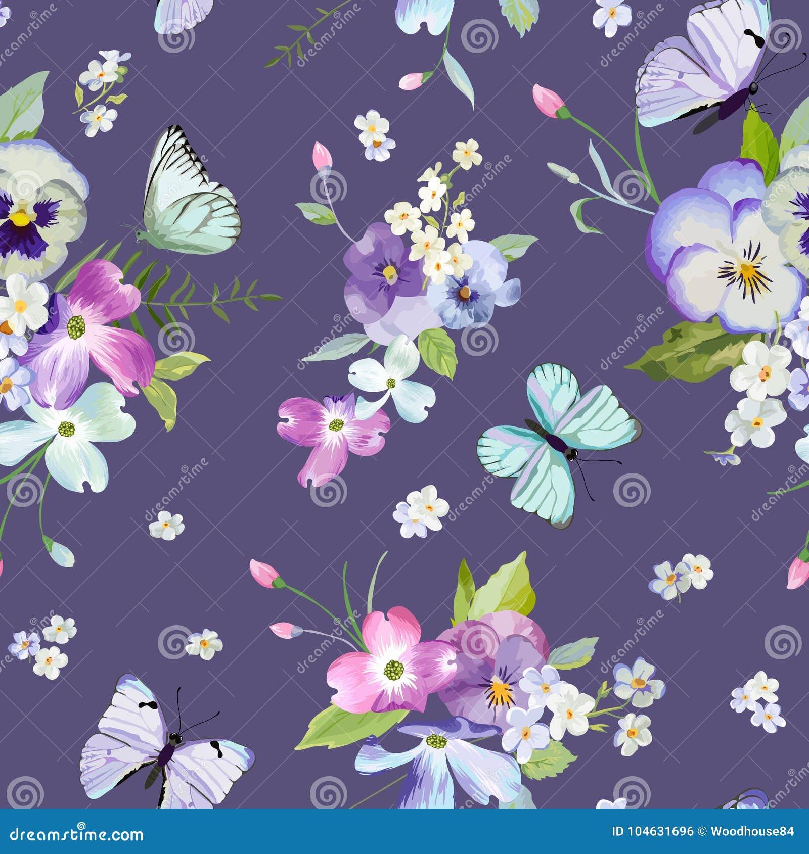 Download Naadloos Patroon Met Bloeiende Bloemen En Vliegende Vlinders In Waterverfstijl Schoonheid In Aard Achtergrond Voor Stof Vector Illustratie - Illustratie bestaande uit nave, insect: 104631696