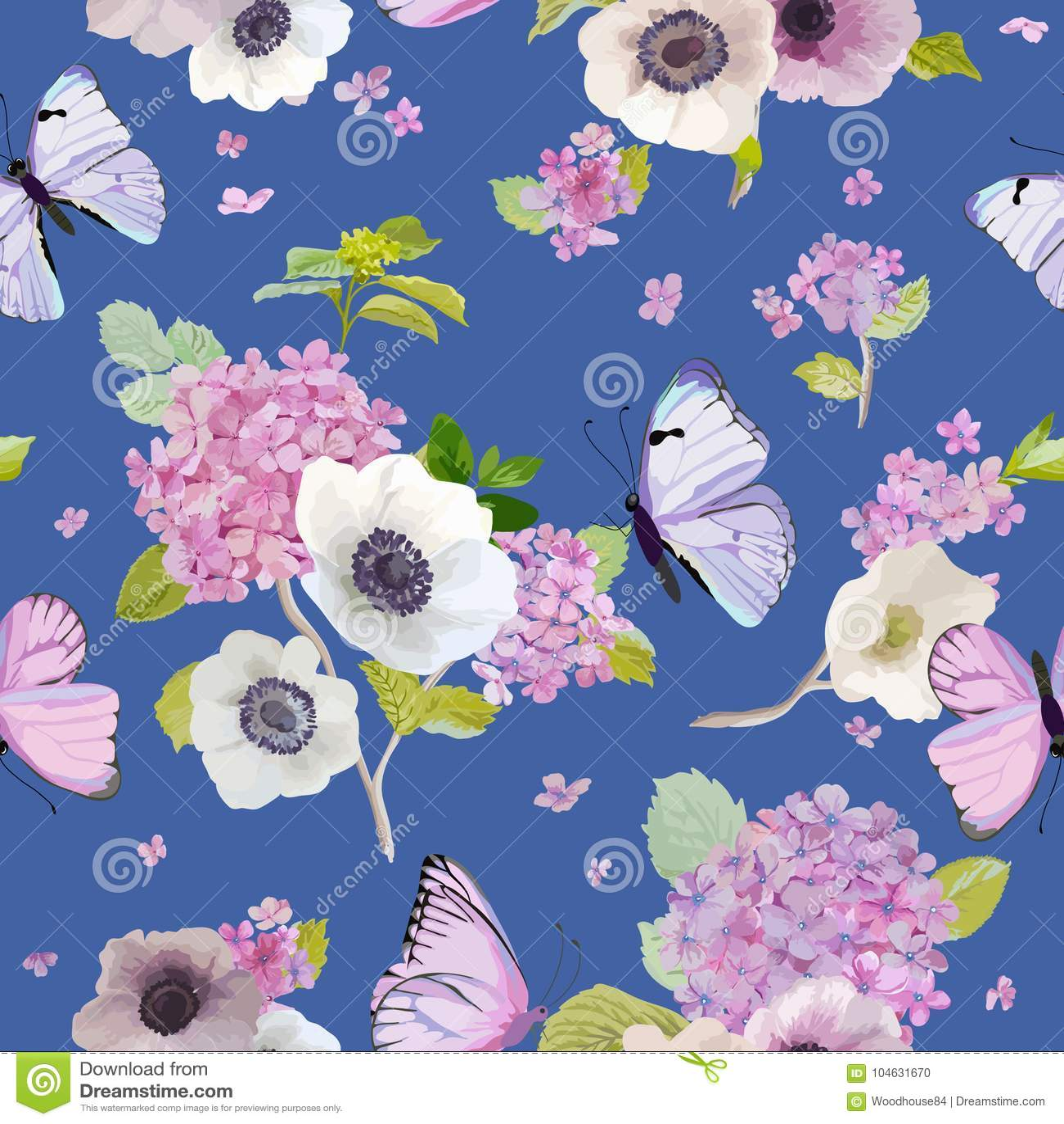 Download Naadloos Patroon Met Bloeiende Hydrangea Hortensiabloemen En Vliegende Vlinders In Waterverfstijl Achtergrond Voor Stof Vector Illustratie - Illustratie bestaande uit illustratie, bloemen: 104631670
