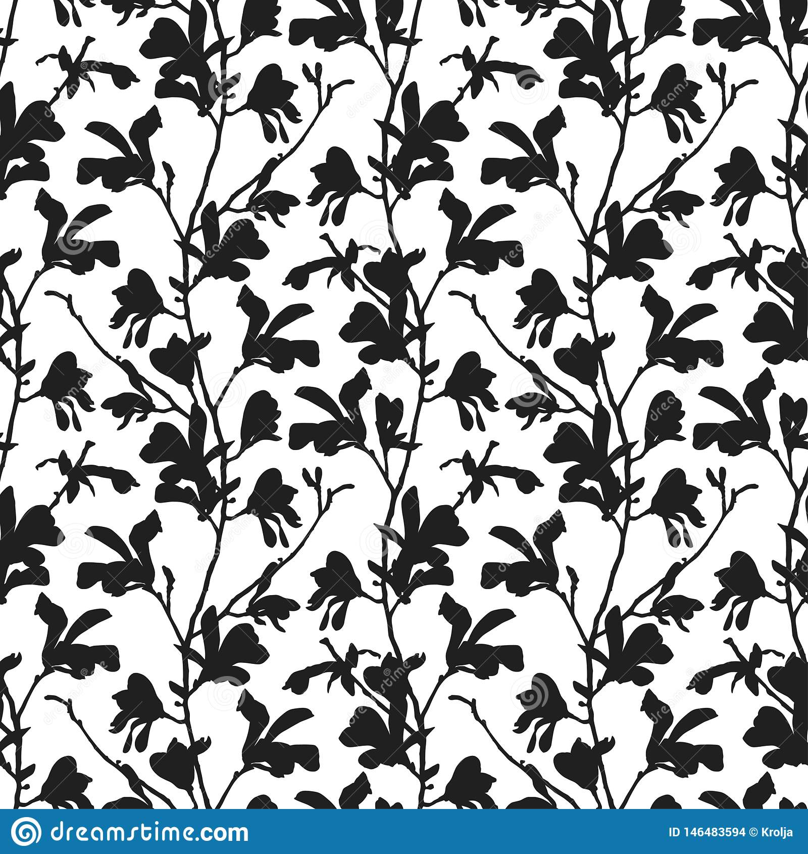 Naadloos patroon met de bloesem van de magnoliaboom in zwart-wit Bloemenachtergrond met tak en magnoliabloem