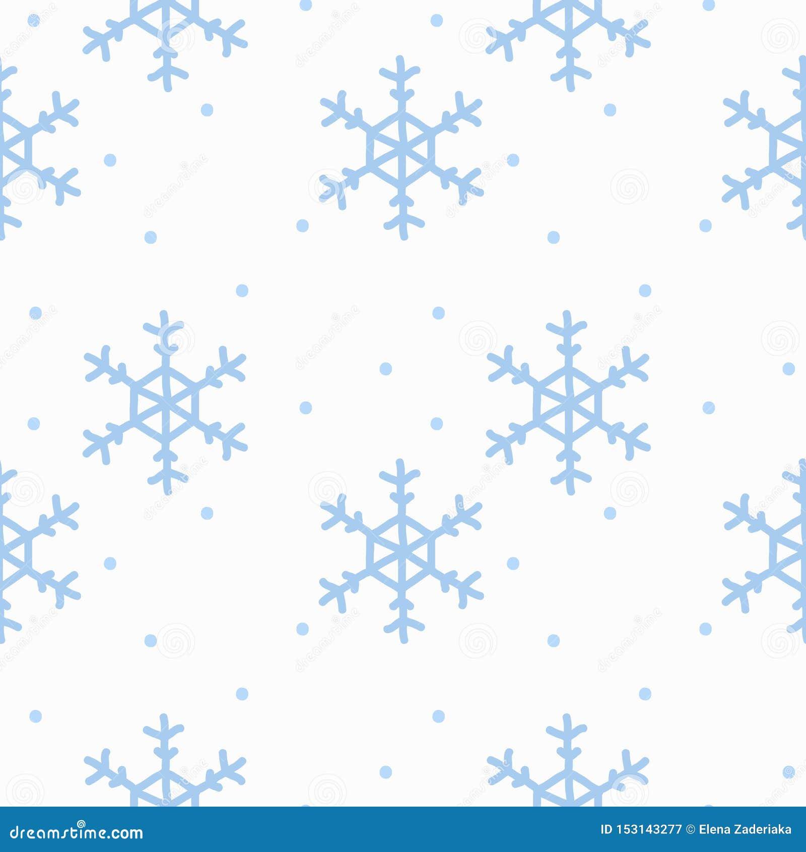Naadloos patroon met de hand getrokken sneeuwvlokken van de krabbelwaterverf De winterpatroon op witte achtergrond
