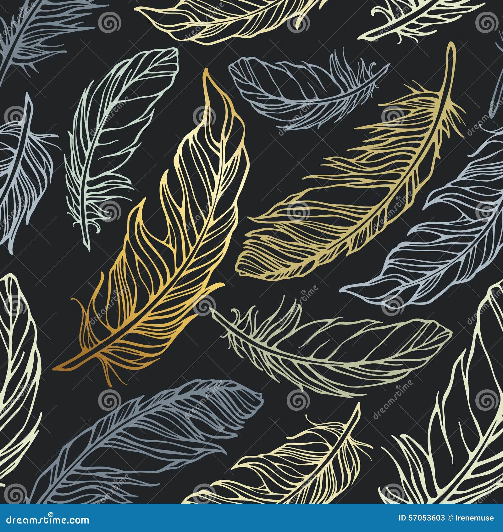 Naadloos patroon met decoratieve veren