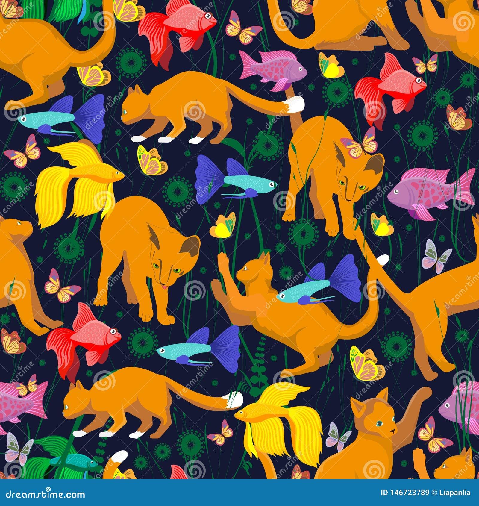 Naadloos patroon met een oranjerode kat