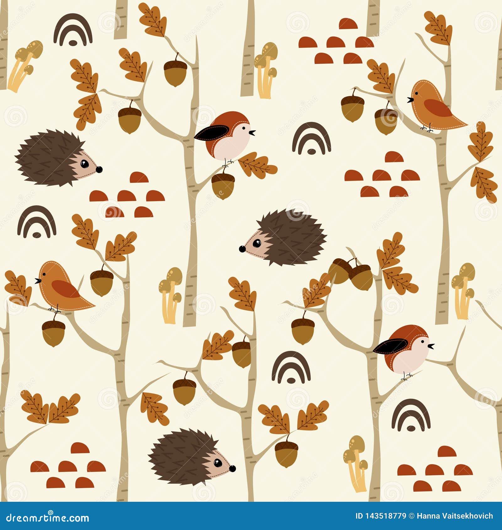 Naadloos patroon met egel en eikel in bos - vectorillustratie, eps