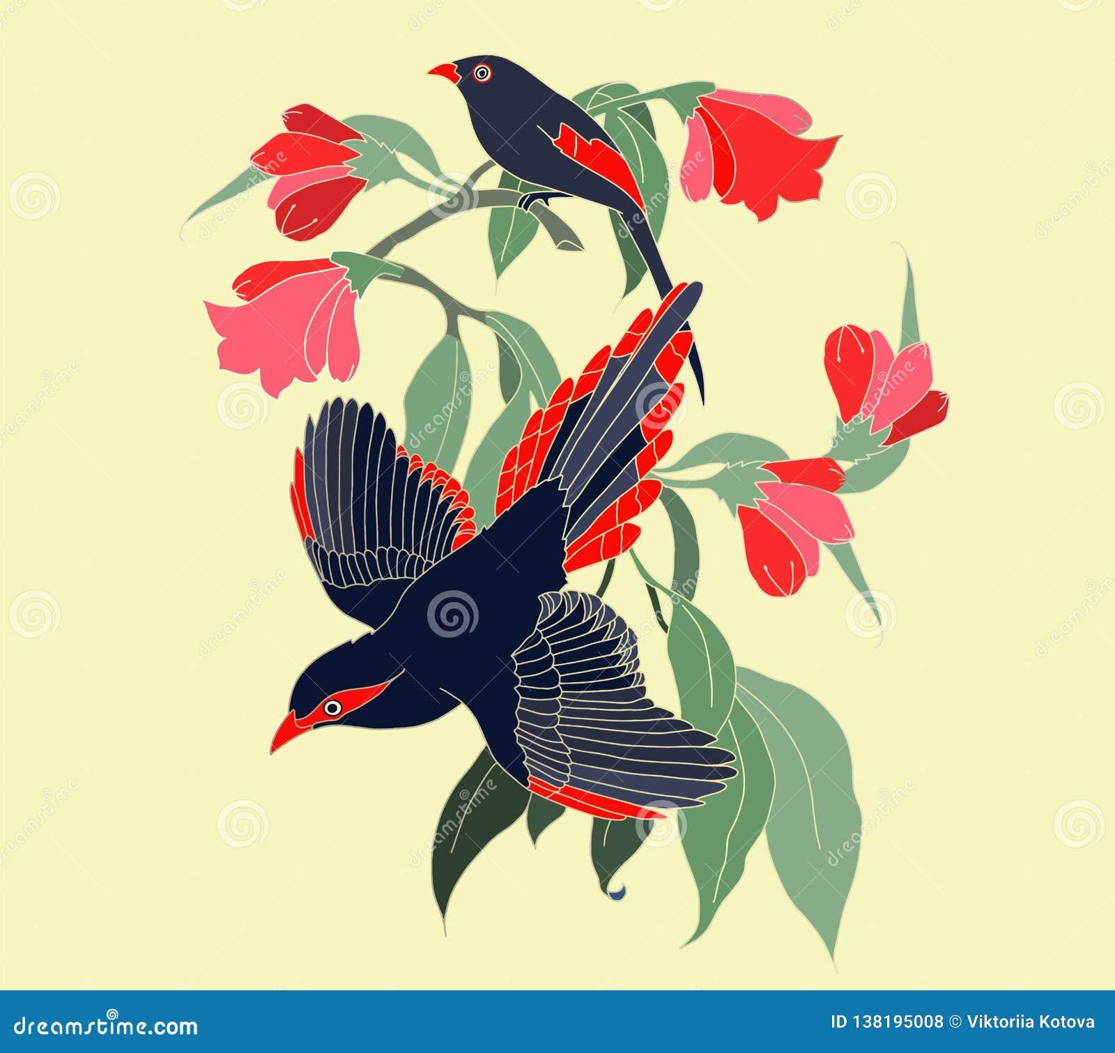 Naadloos patroon met exotische bomen, bloemen en vogels Exotische tropische groene wildernispalm, bladeren met in vogelachtergron