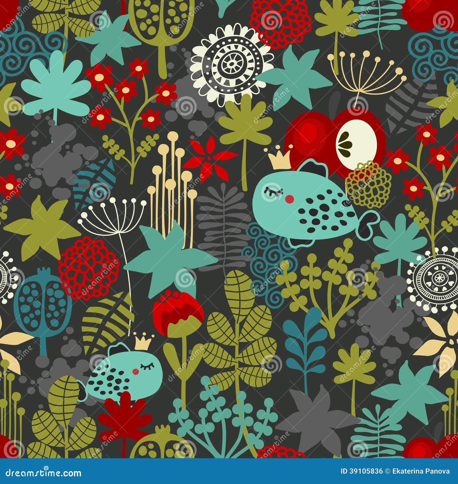Naadloos patroon met fantastische flora en vissen.
