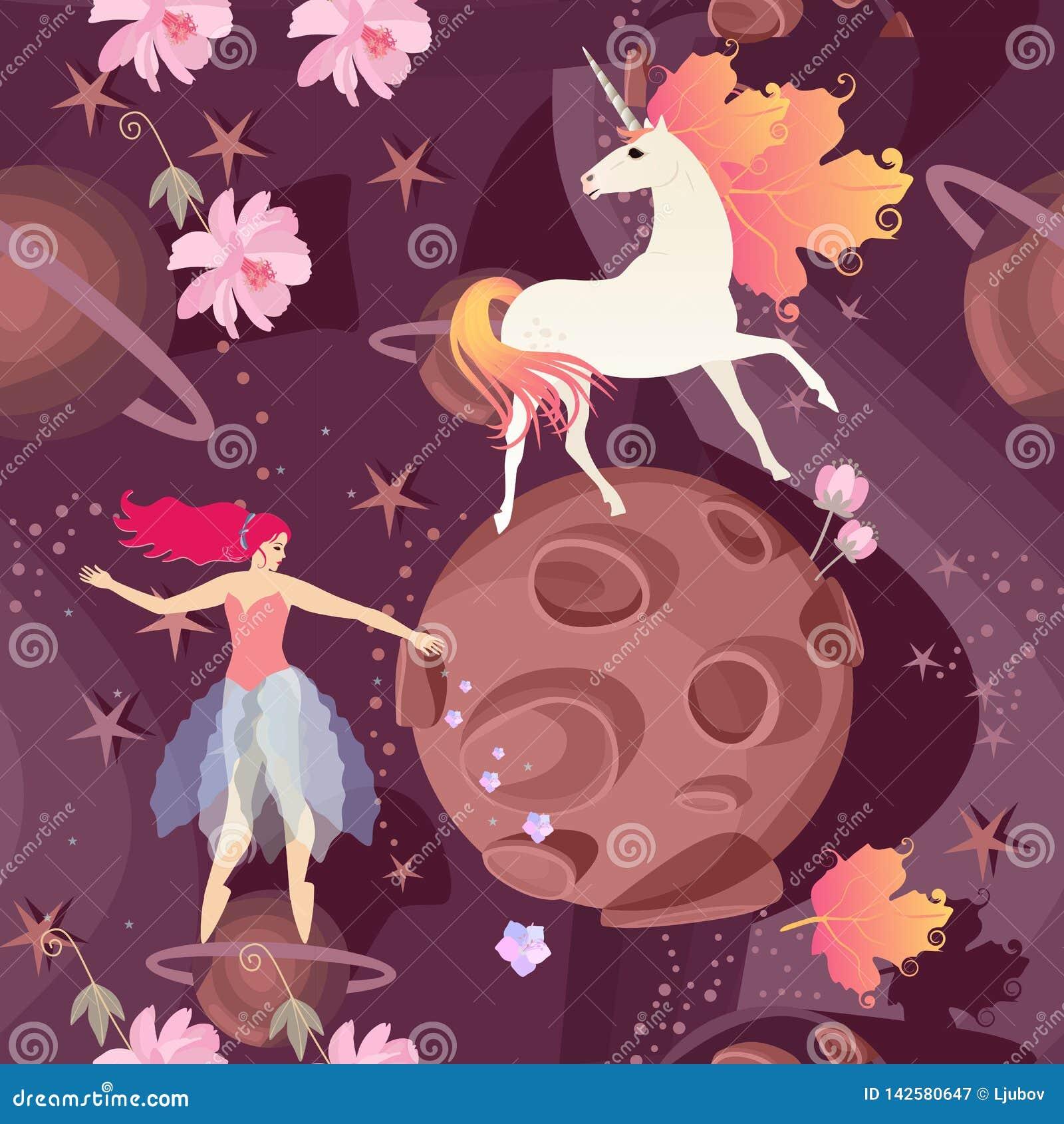 Naadloos patroon met feeballerina en leuke eenhoorn met manen in vorm van de herfstbladeren op achtergrond van kosmisch landschap