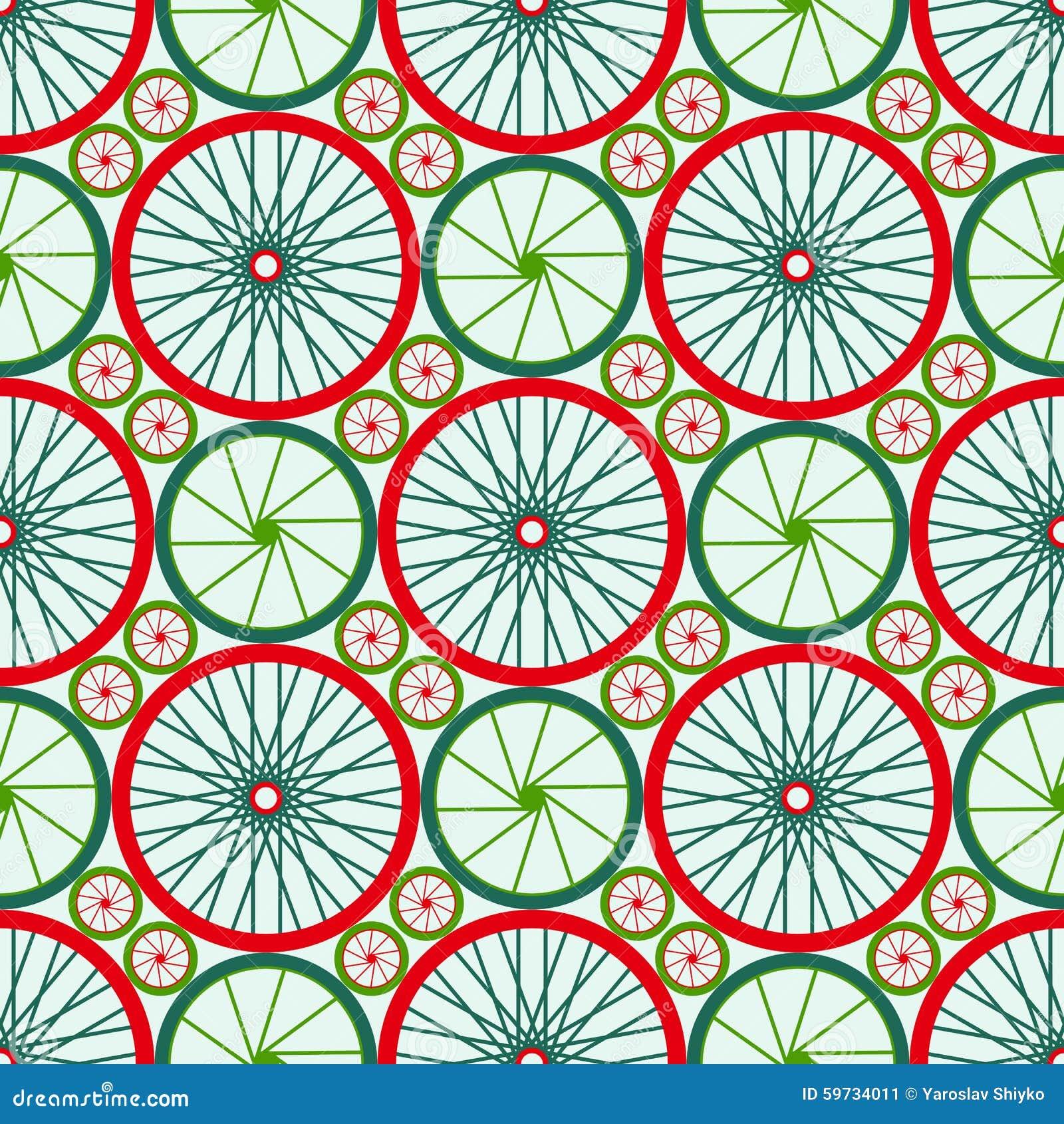 Naadloos patroon met fietswielen Fietswielen met gekleurde randen en spokes