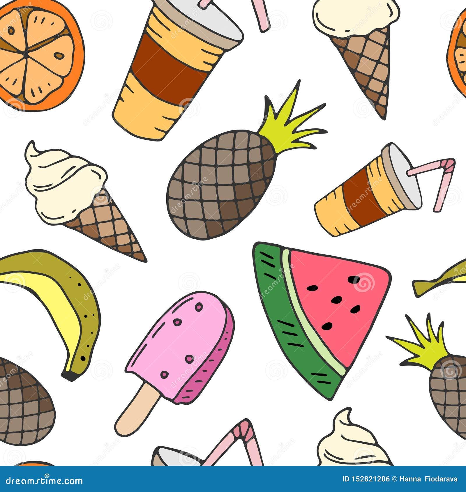 Naadloos patroon met fruit, roomijs en drank