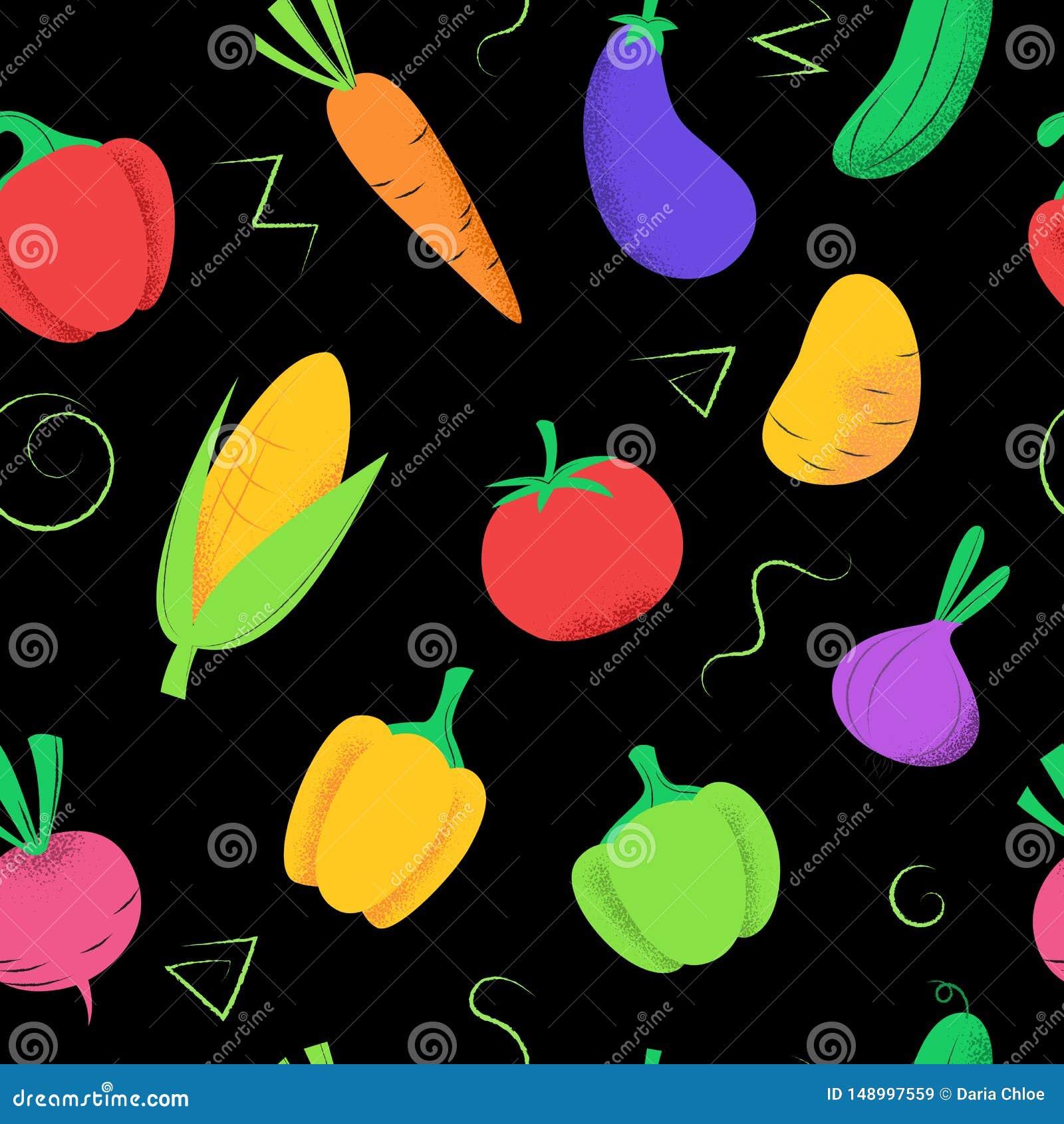 Naadloos patroon met gekleurde groenten op zwarte