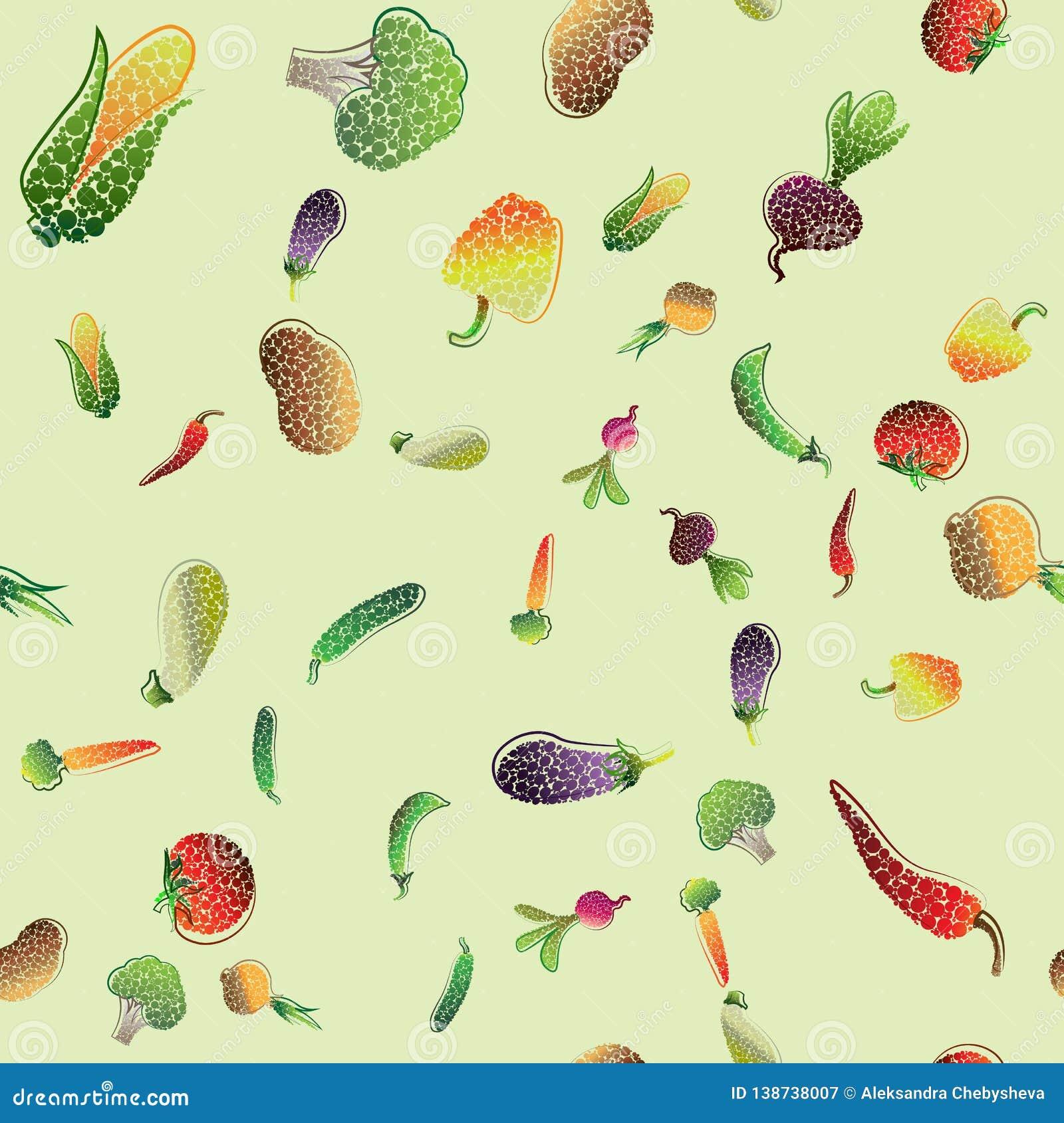 Naadloos patroon met gekleurde groenten Vector illustratie voor uw zoet water design