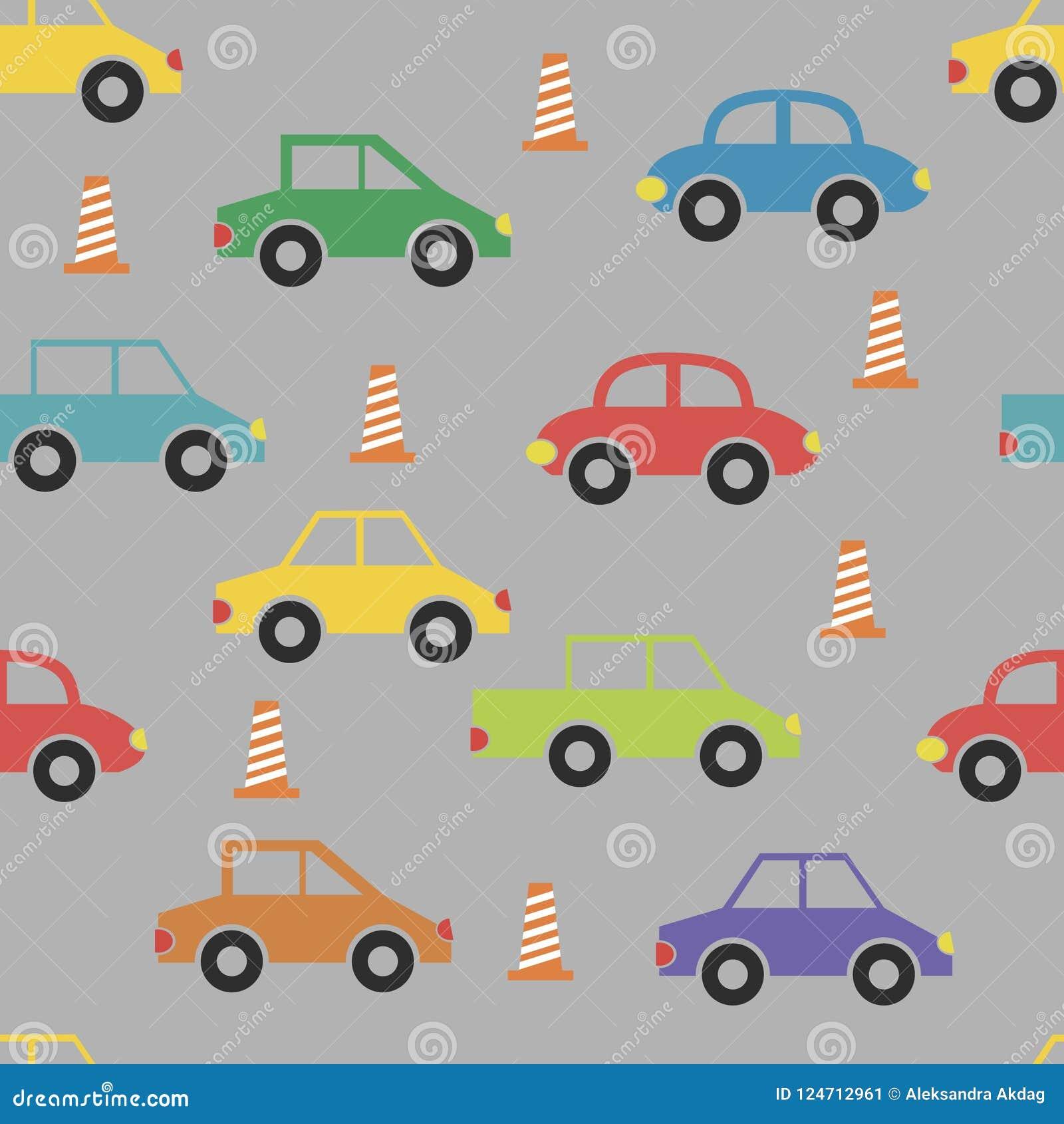 Naadloos patroon met grappige leuke kleurenauto s