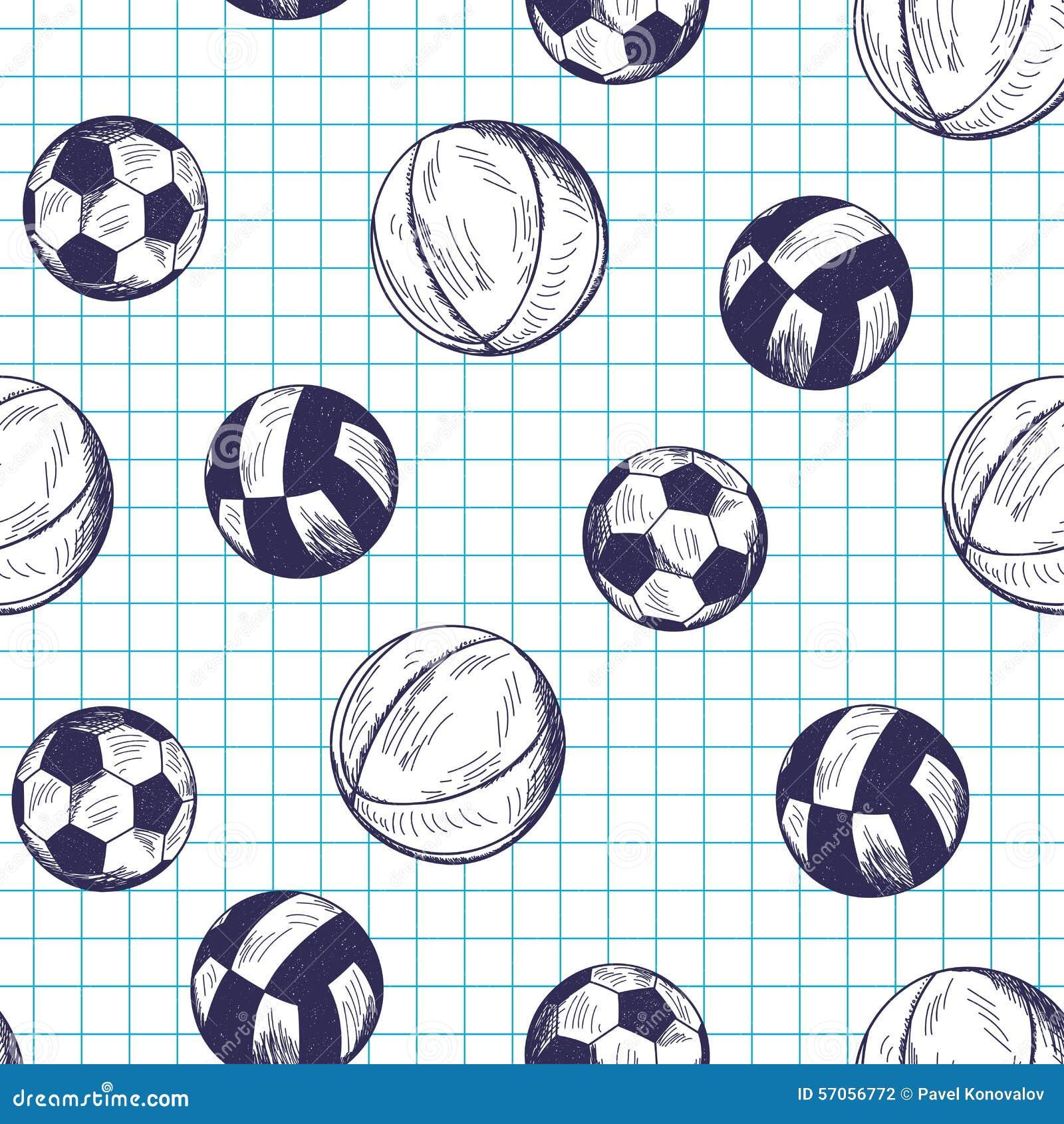 Naadloos patroon met hand getrokken verschillende sportballen