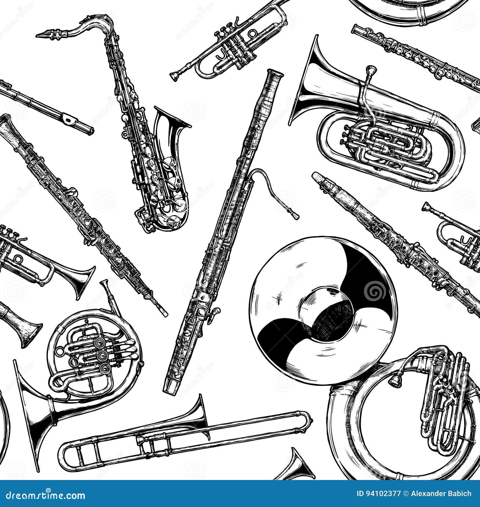 Naadloos patroon met hout en messings muzikaal instrument