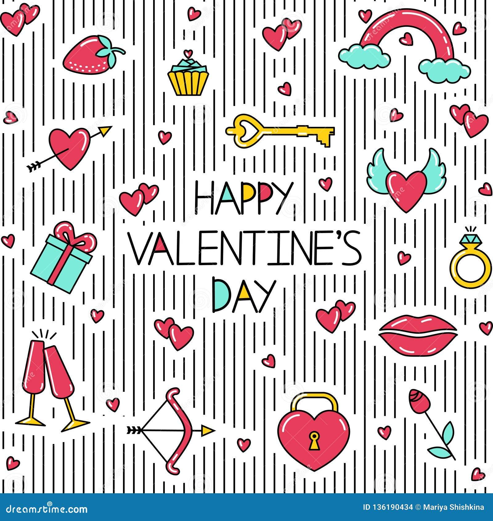 Naadloos patroon met inschrijving, lijnen en heldere symbolen van de dag van Valentine
