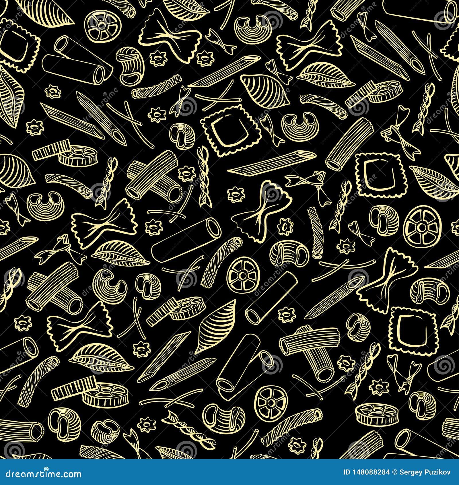 Naadloos patroon met Italiaanse macaroni van verschillende soorten de lichtgele gekleurde hand trekt op zwarte achtergrond