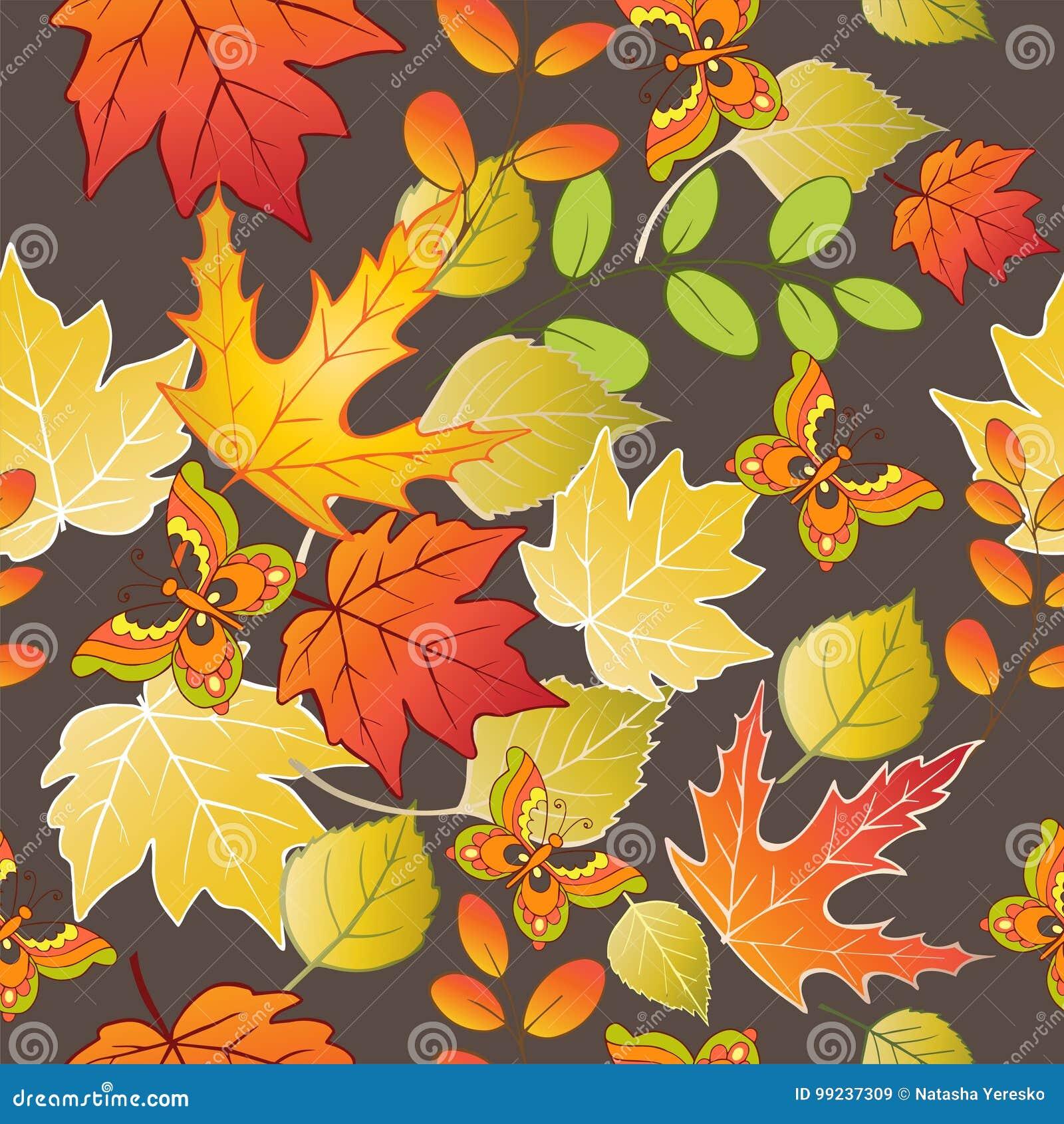 Naadloos patroon met kleurrijke de herfstbladeren en vlinders Vector illustratie