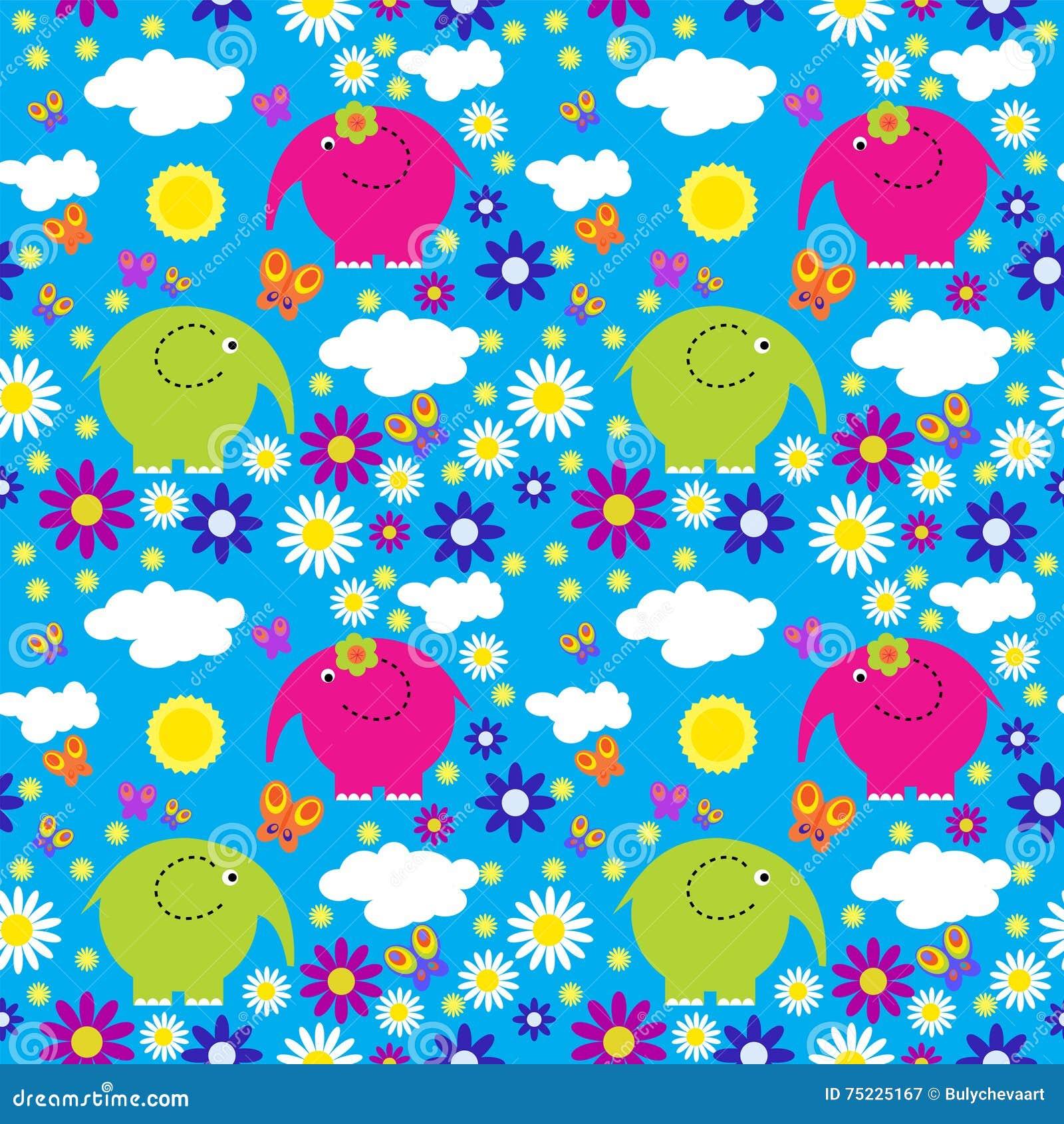 Naadloos patroon met kleurrijke olifanten op een achtergrond van clou