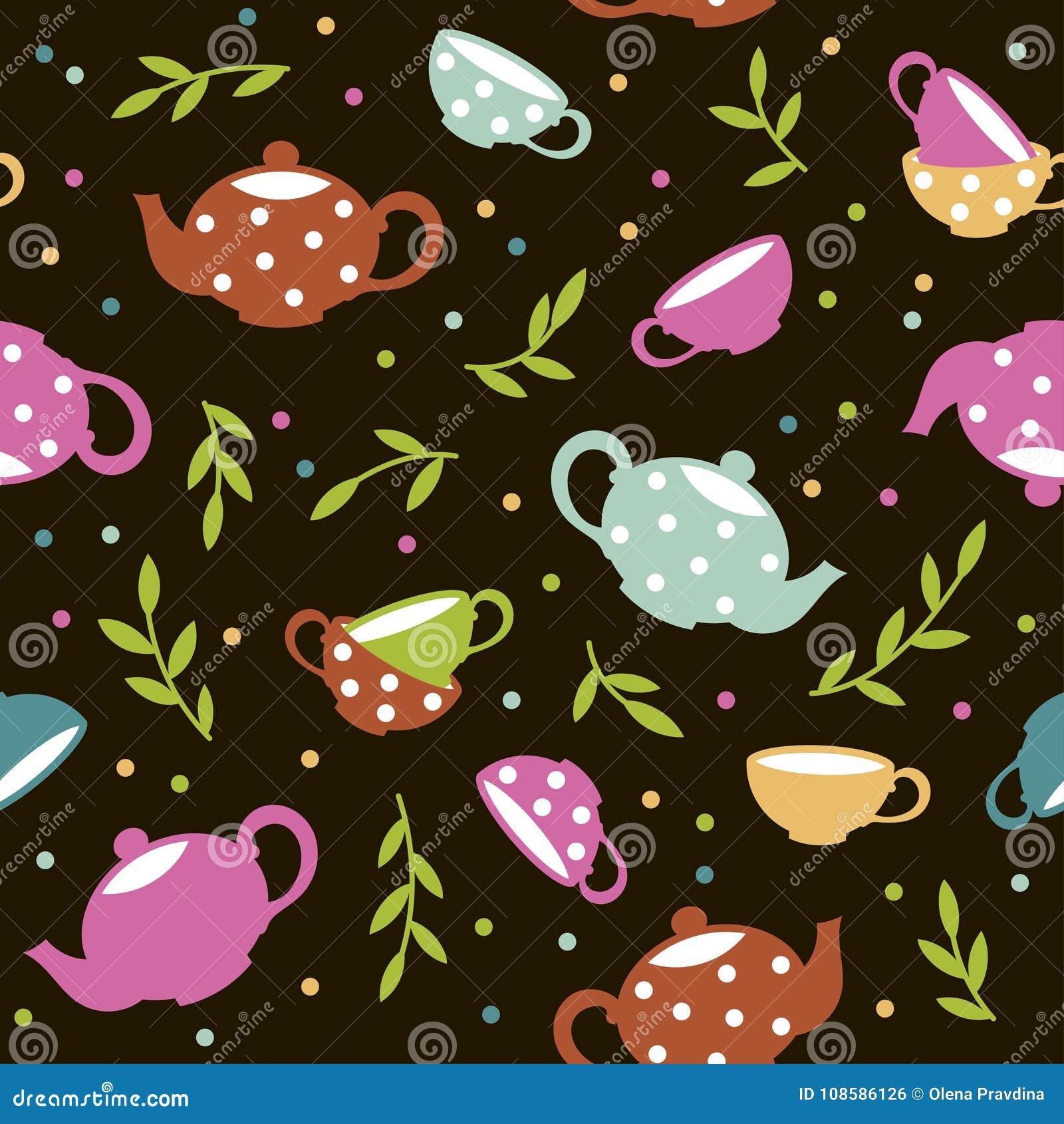 Naadloos patroon met kleurrijke theepotten en koppen Vector Malplaatje