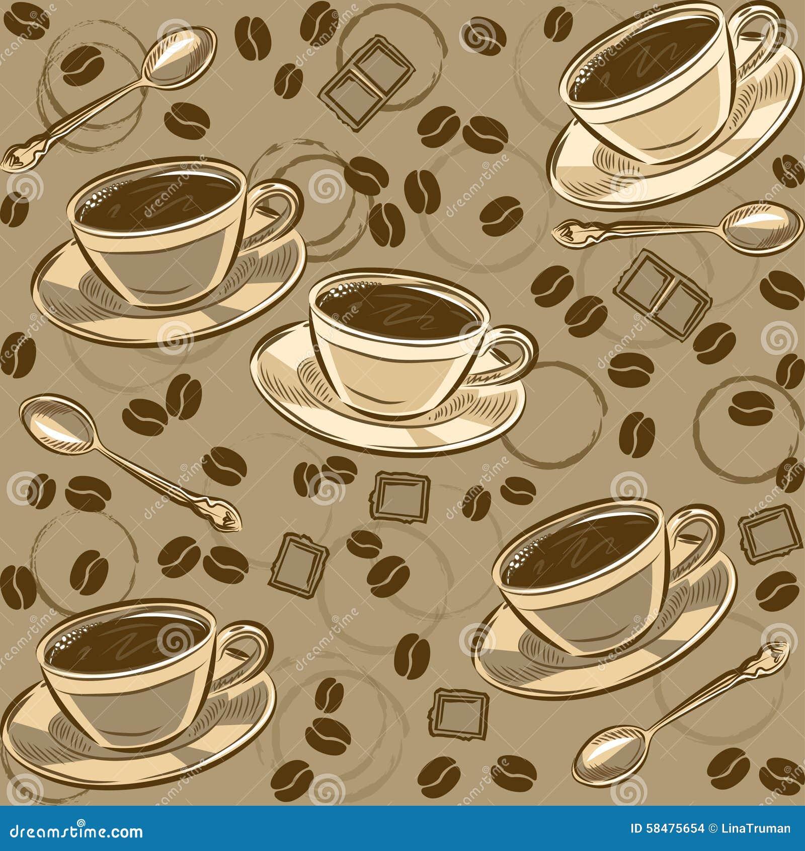 Naadloos patroon met koffiebonen en koppen vector vector illustratie afbeelding 58475654 - Parijs zoet ...