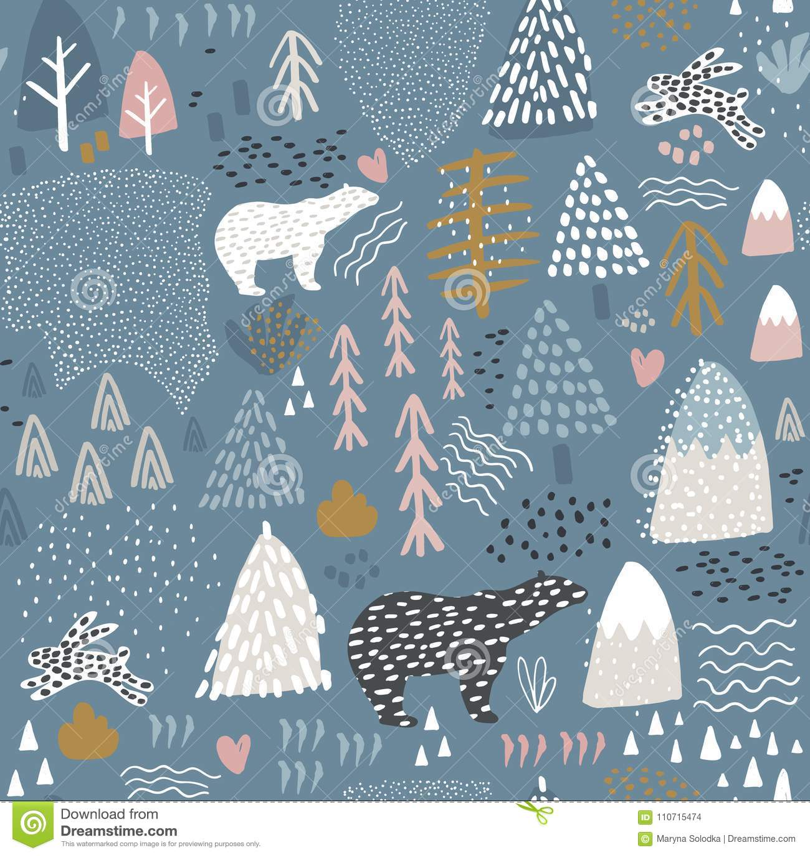 Naadloos patroon met konijntje, ijsbeer, boselementen en hand getrokken vormen Kinderachtige textuur Groot voor stof, textielvect
