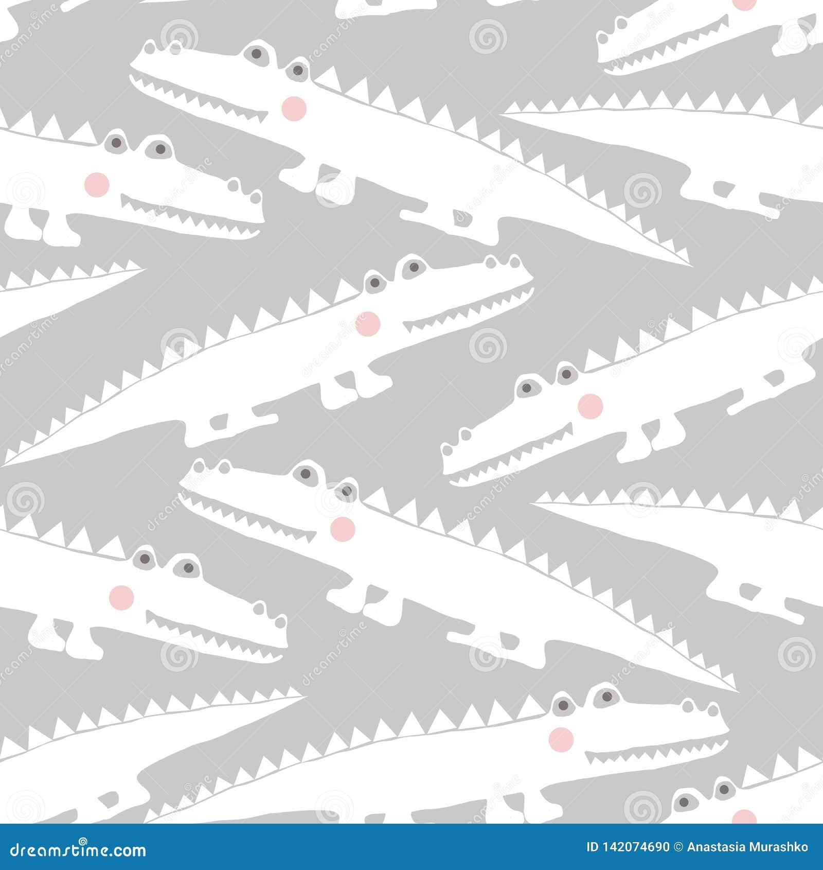 Naadloos patroon met krokodillen