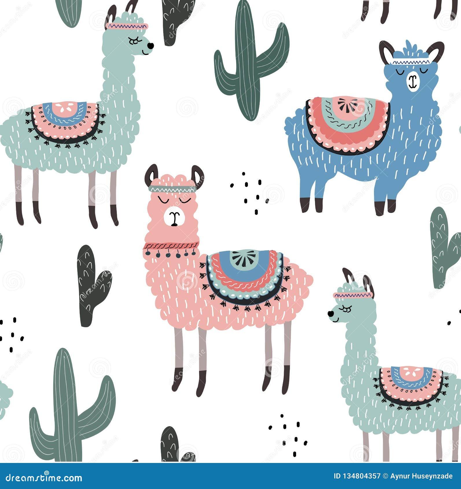 Naadloos patroon met lama en cactus vectorillustratie voor stof, textiel, behang