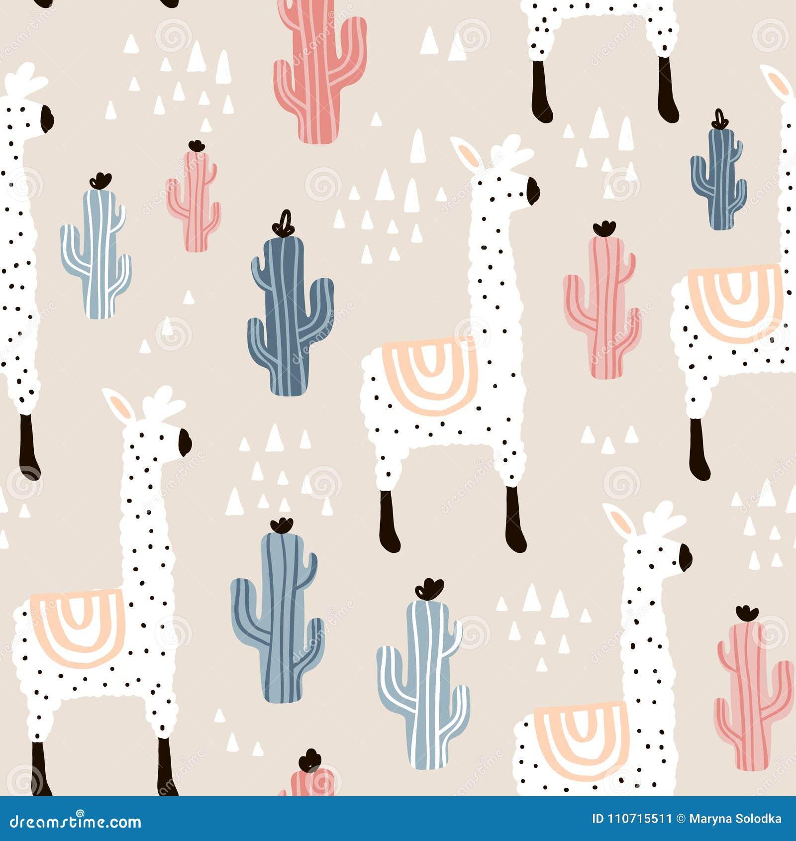 Naadloos patroon met lamma, cactus en hand getrokken elementen Kinderachtige textuur Groot voor stof, textiel Vectorillustratie