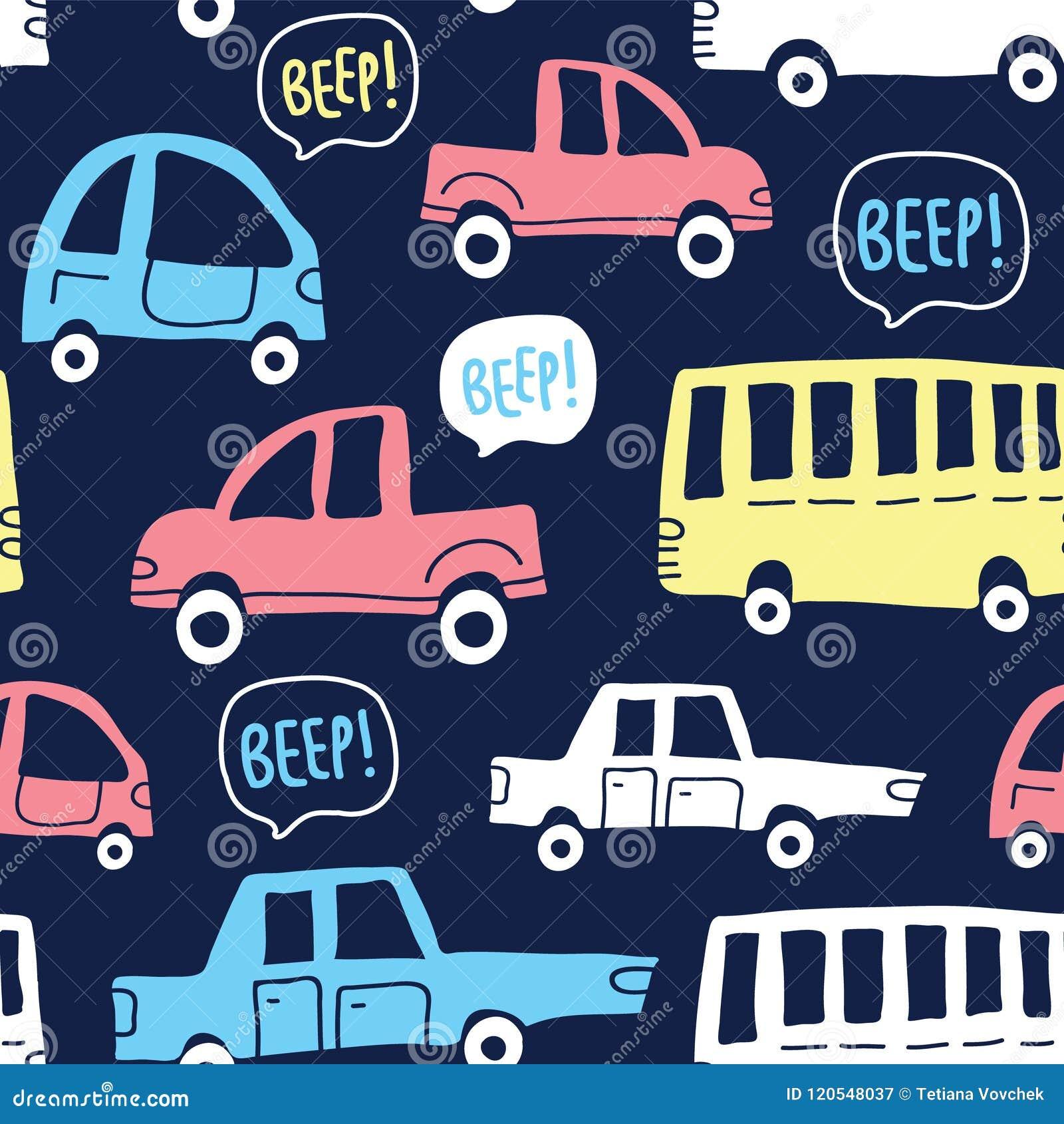 Naadloos patroon met leuke auto s op donkere achtergrond