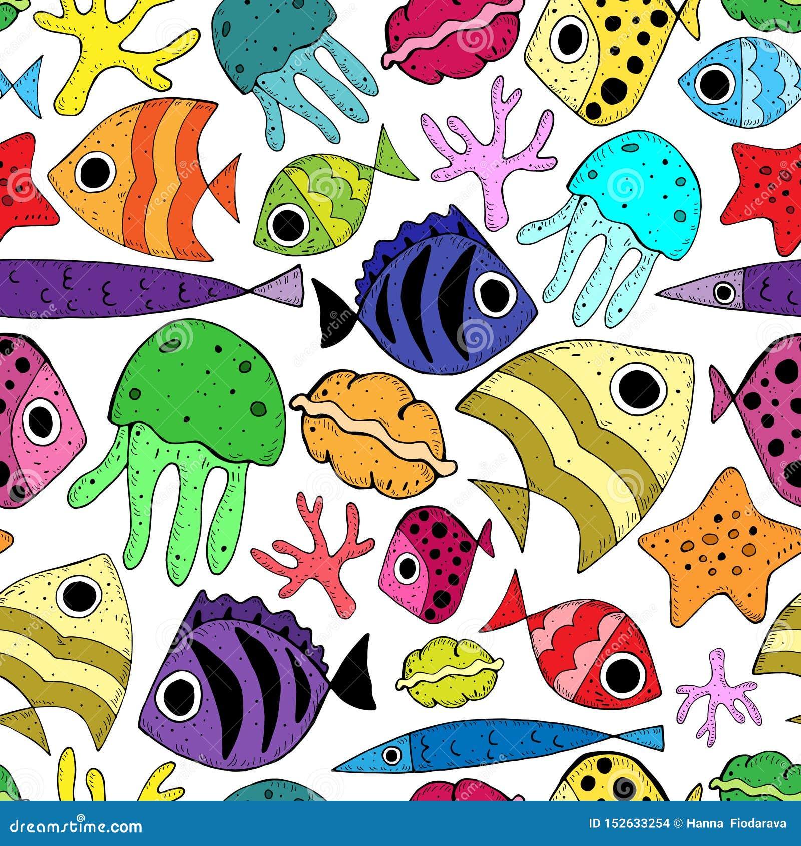 Naadloos patroon met leuke beeldverhaalvissen