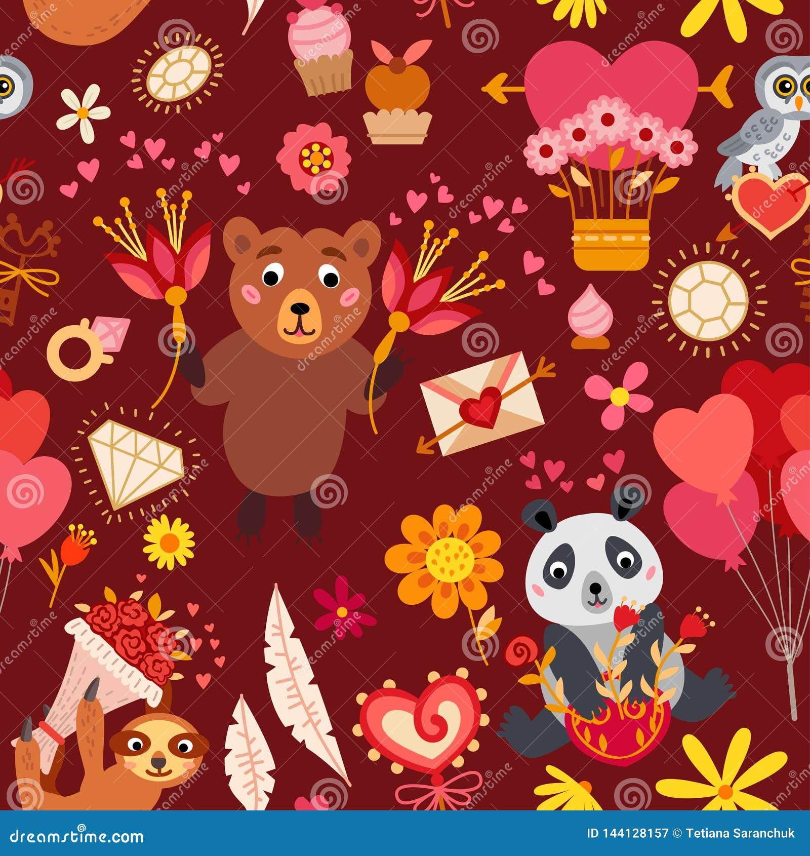 Naadloos patroon met liefdeelementen Vector illustratie