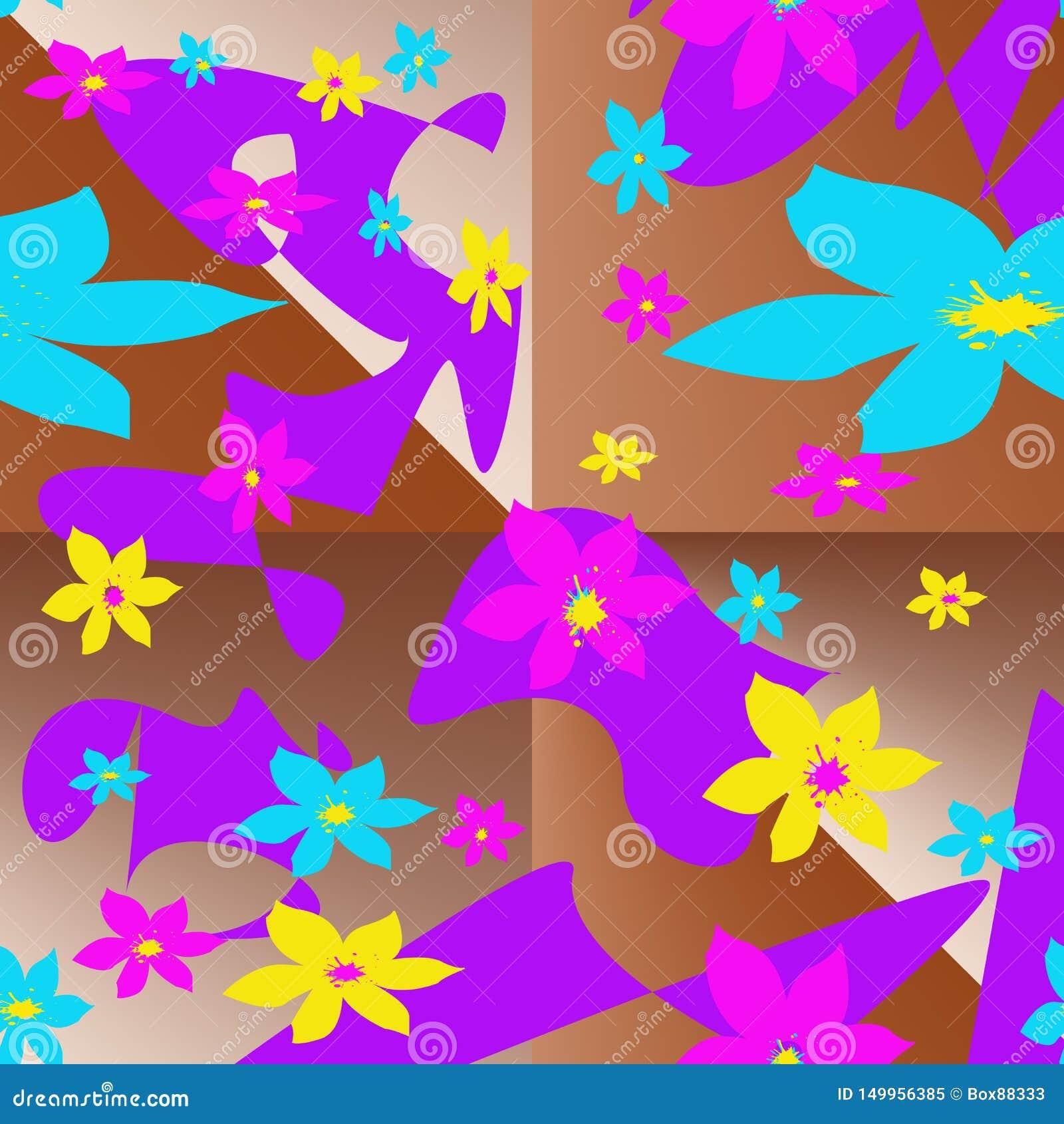 Naadloos patroon met multi-colored elementen in de vorm van gestileerde bloemen en abstracte vlekken