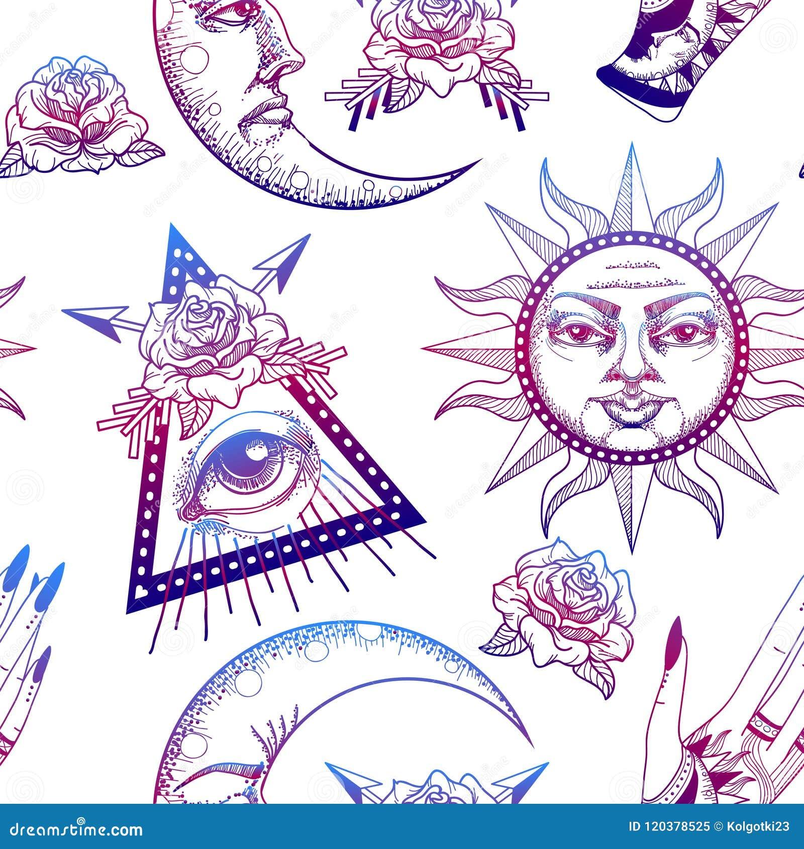 Naadloos patroon met oude astronomische illustratie van de zon, de maan