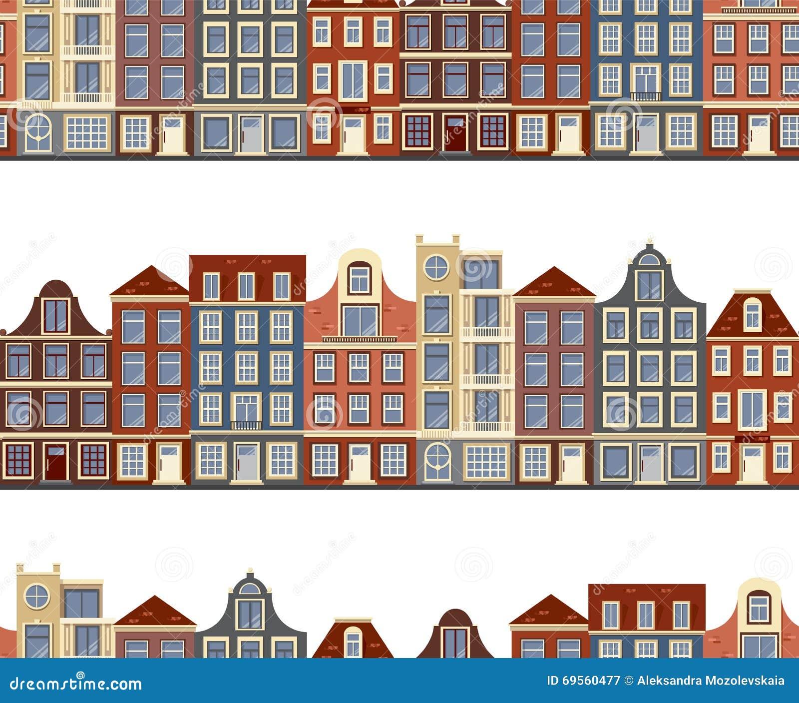 Stijl Van Amsterdam.Naadloos Patroon Met Oude Historische Gebouwen Van Amsterdam