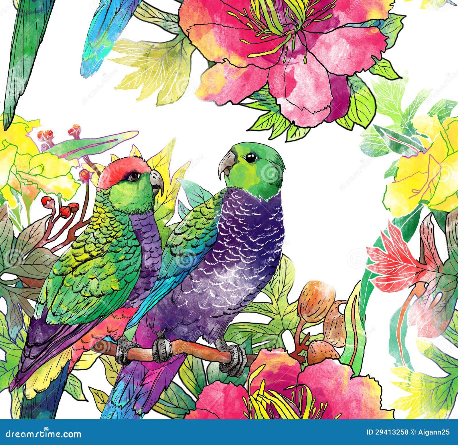 Naadloos patroon met papegaaien en bloemen