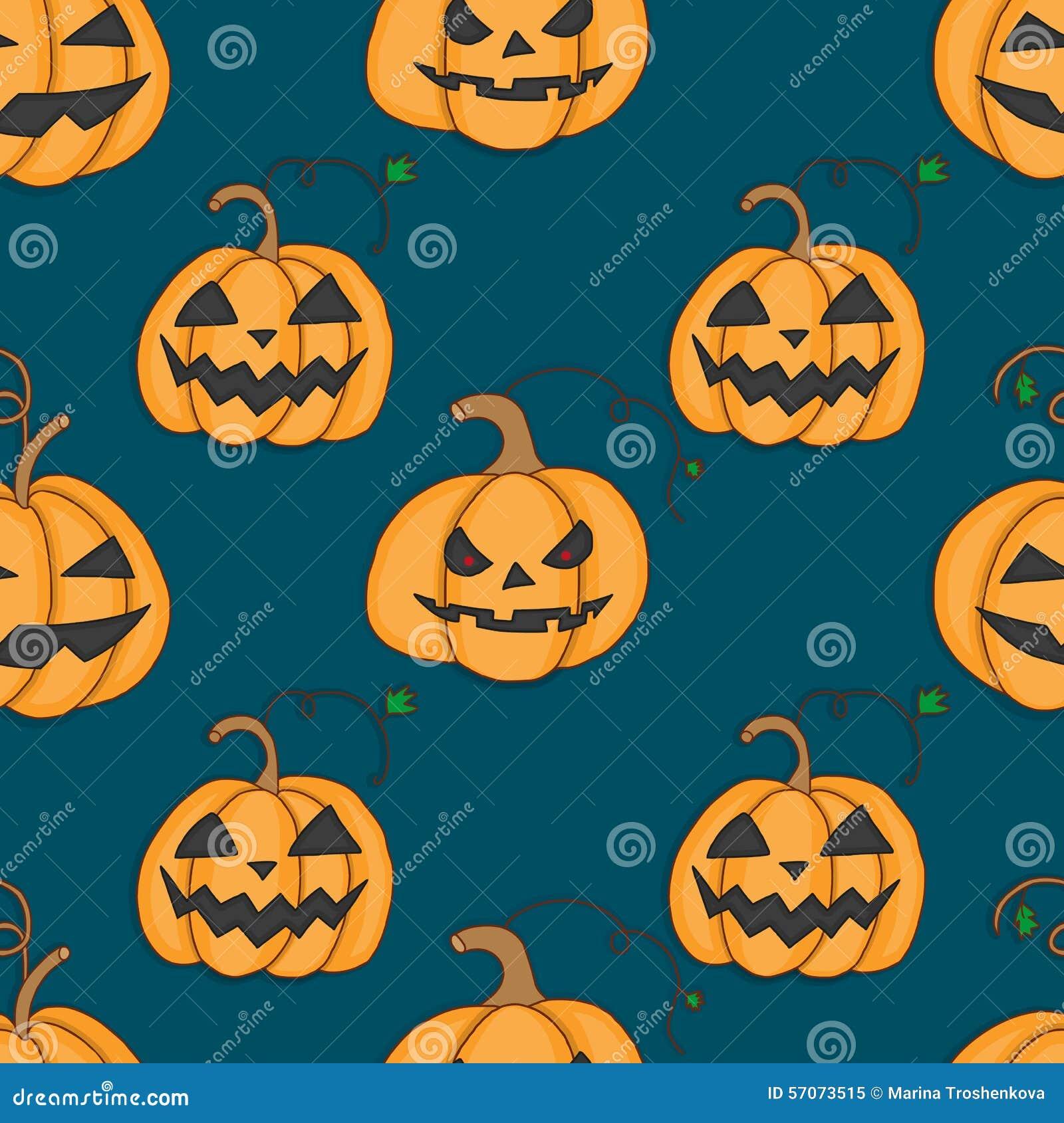 Naadloos patroon met pompoenen voor Halloween