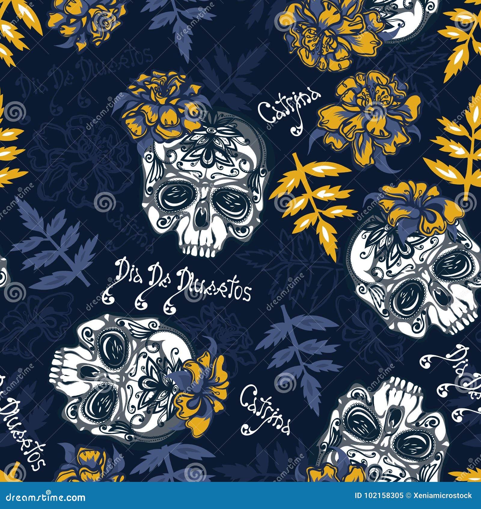 Naadloos patroon met schedels, goudsbloemenbloemen en bladeren