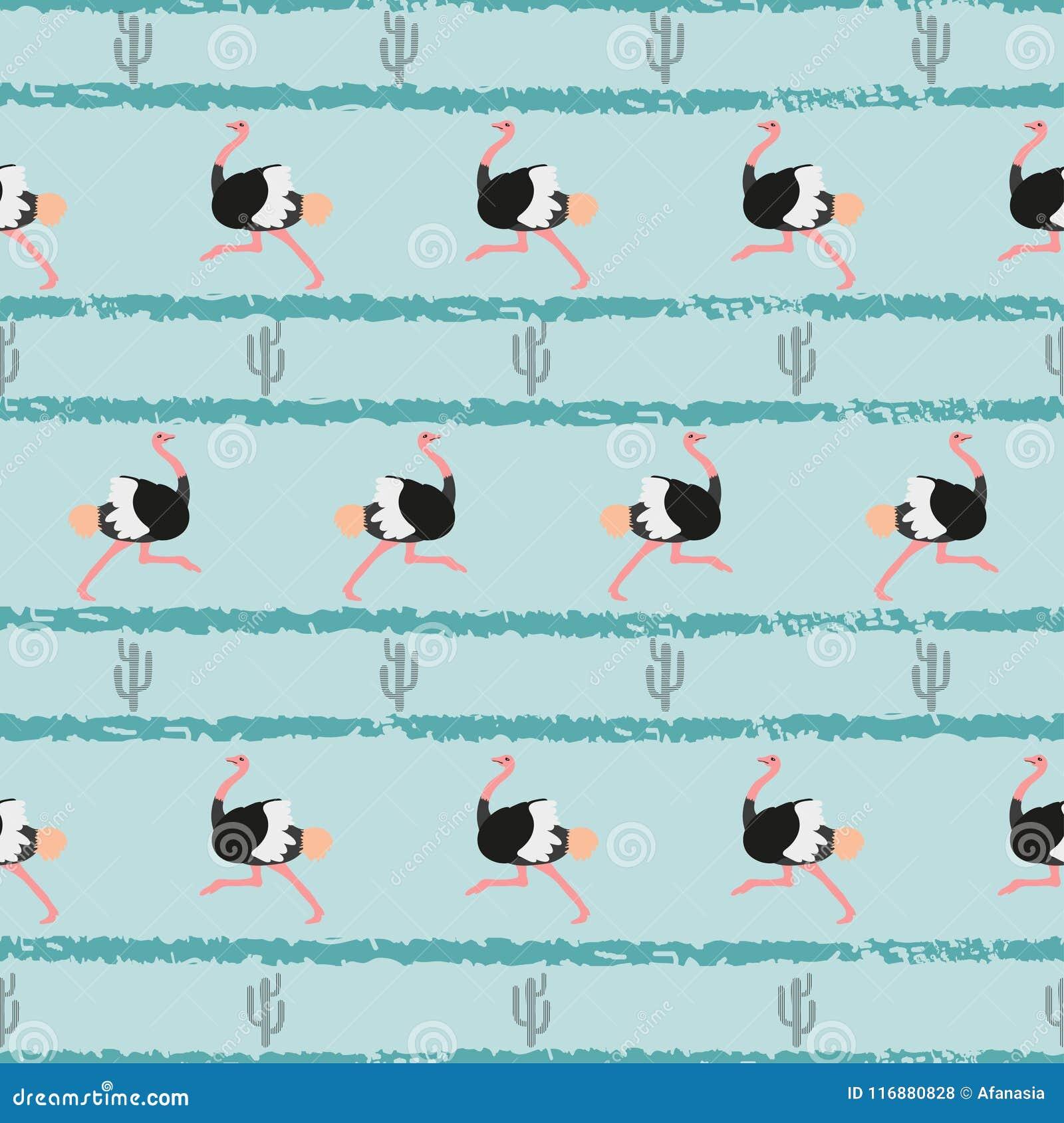 Naadloos in patroon met struisvogel en cactus