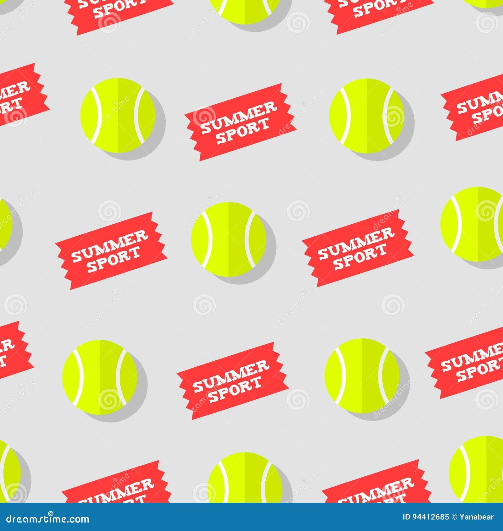 Naadloos patroon met tennisbal en van de stickerszomer sport Vlakke stijl Het kan voor prestaties van het ontwerpwerk noodzakelij