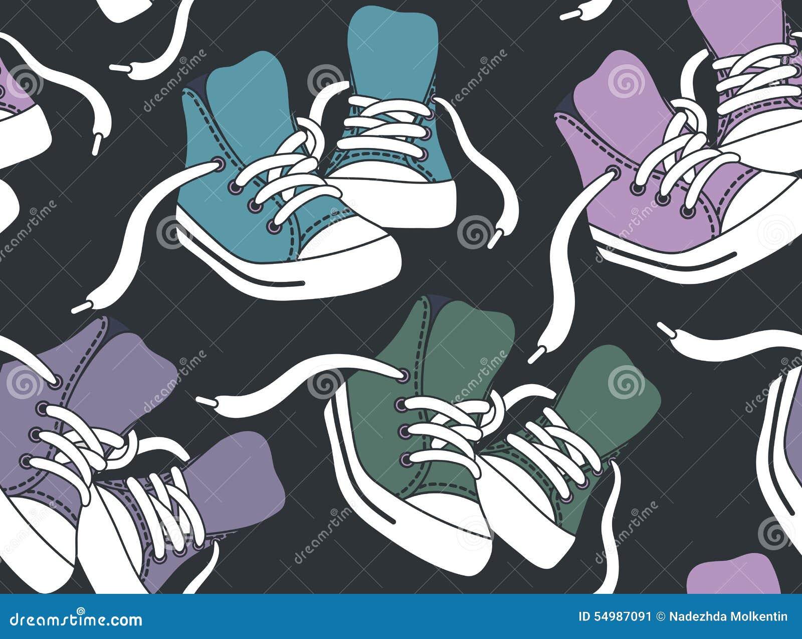 Naadloos Patroon met tennisschoenen
