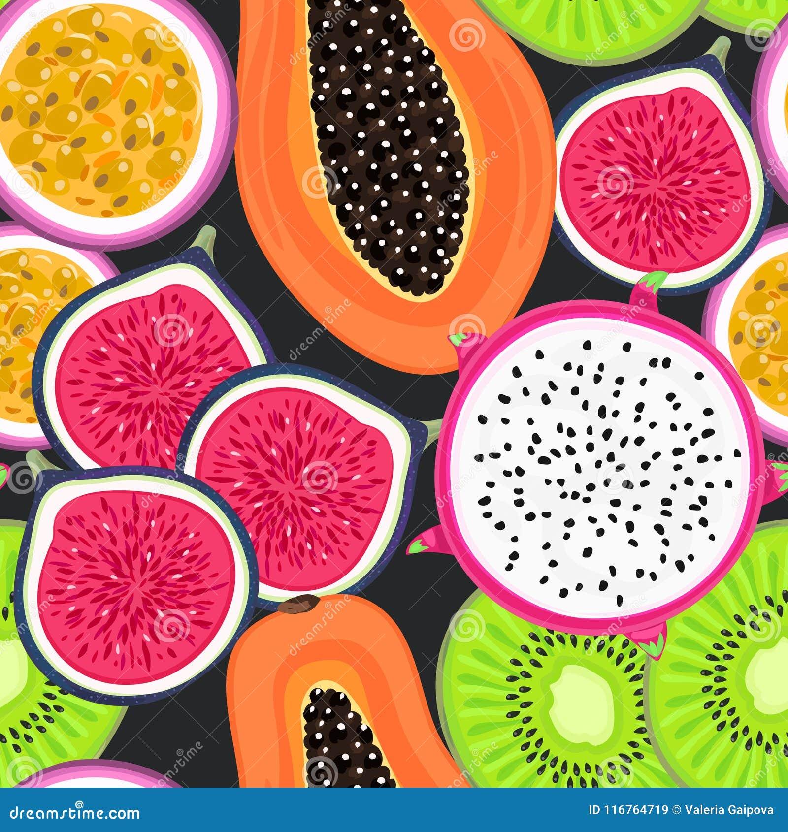 Naadloos patroon met tropische vruchten Gezond dessert Fruitige Achtergrond Draakfruit, kiwi, hartstocht, fig., papaja