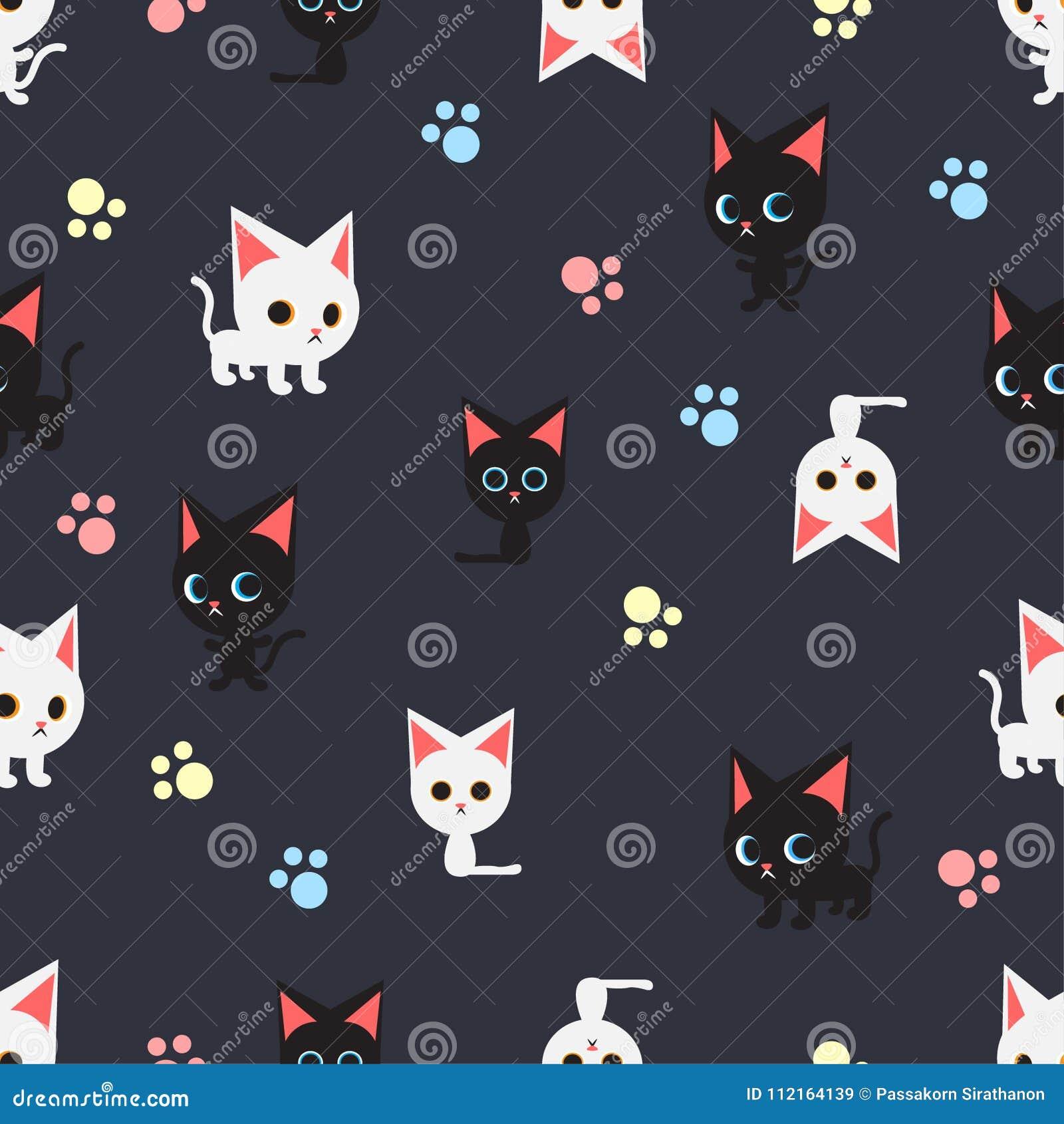 Naadloos patroon met vele zwarte kat en witte kat op donkerblauwe achtergrond, vector