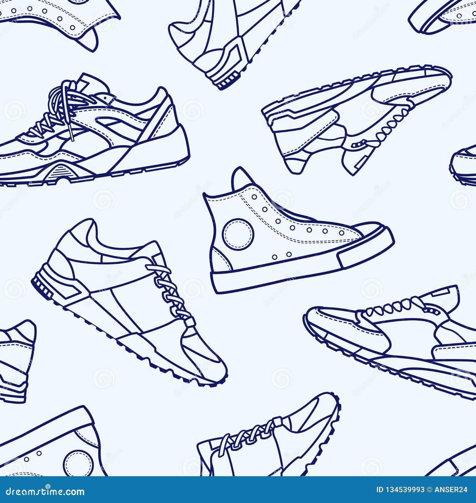 Naadloos Patroon met Vlakke de Lijnslag van de Tennisschoenschoen