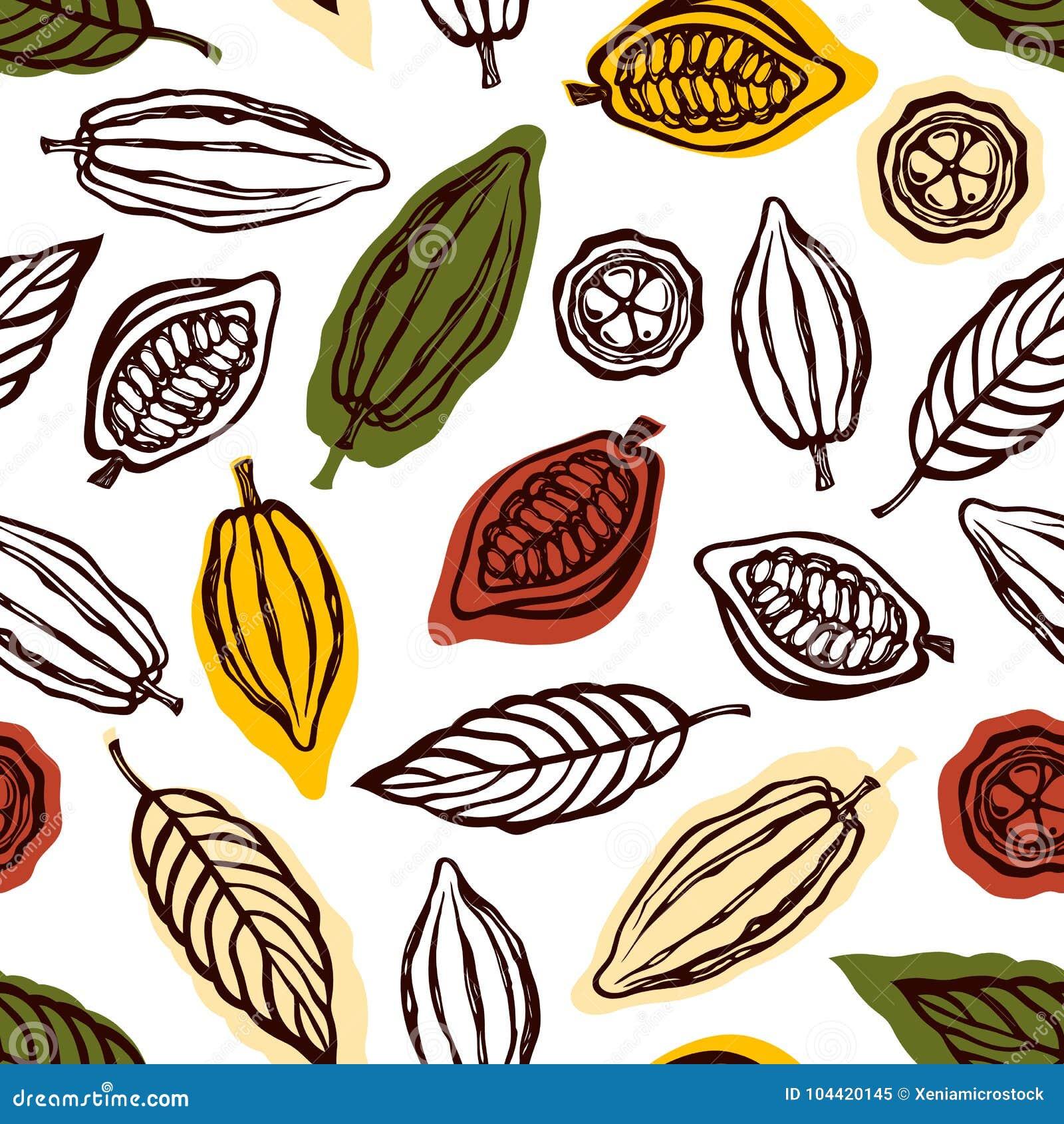 Naadloos patroon met vruchten en cacaobladeren Achtergrond voor de verpakking van chocoladedrank en chocolade Getrokken hand