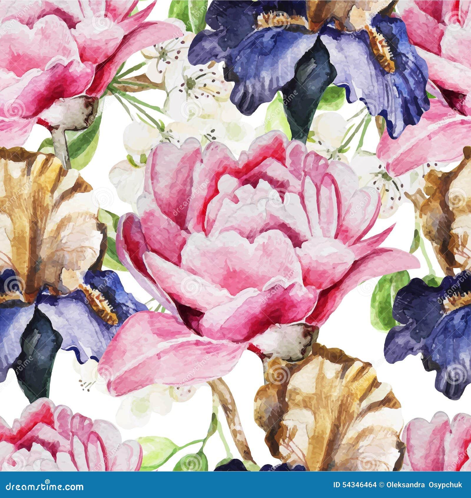 Naadloos patroon met waterverfbloemen Iris