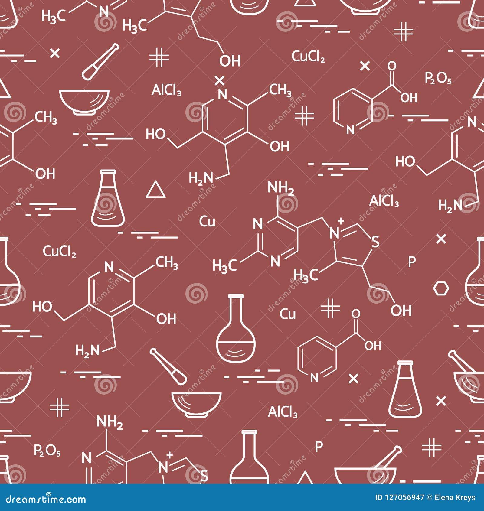 Naadloos patroon met wetenschappelijke verscheidenheid, onderwijselementen: FL Vector Illustratie