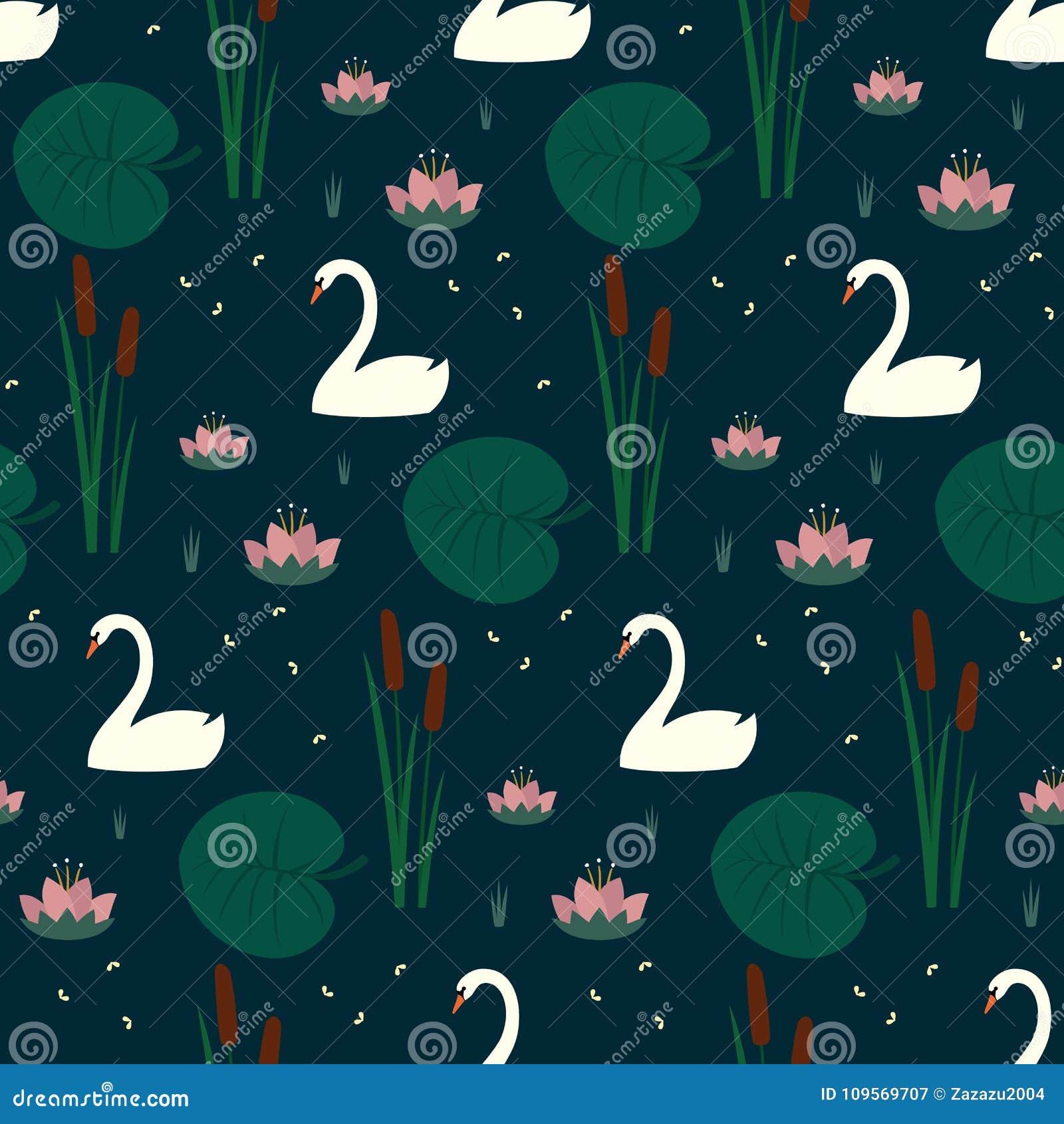 In naadloos patroon met witte zwanen, waterlelie, bies en bladeren op donkerblauwe achtergrond