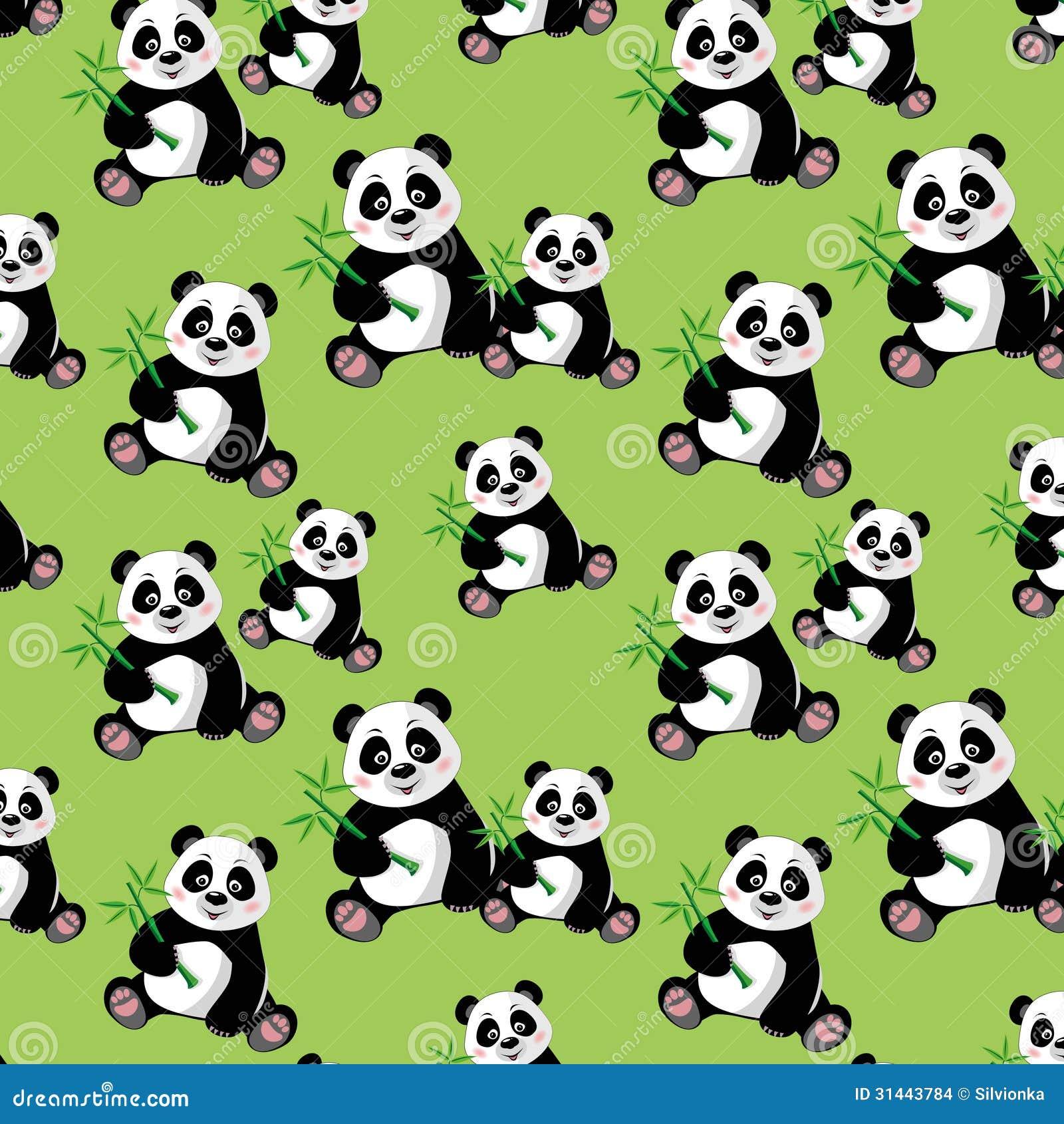 Paperpanda Naadloos Patroon Met Zittings Leuke Panda En Bambo Stock