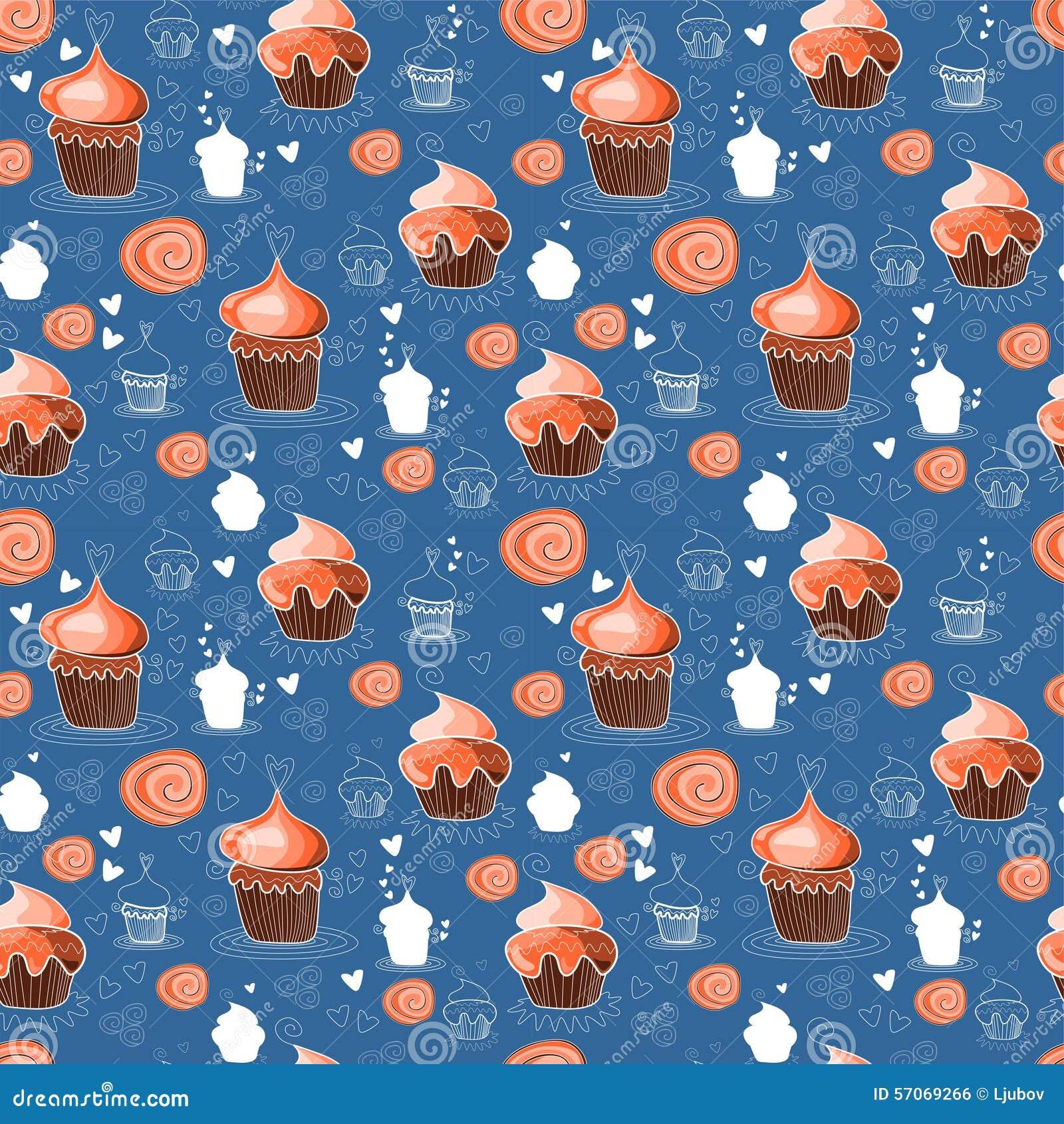 Naadloos patroon met zoete cupcakes
